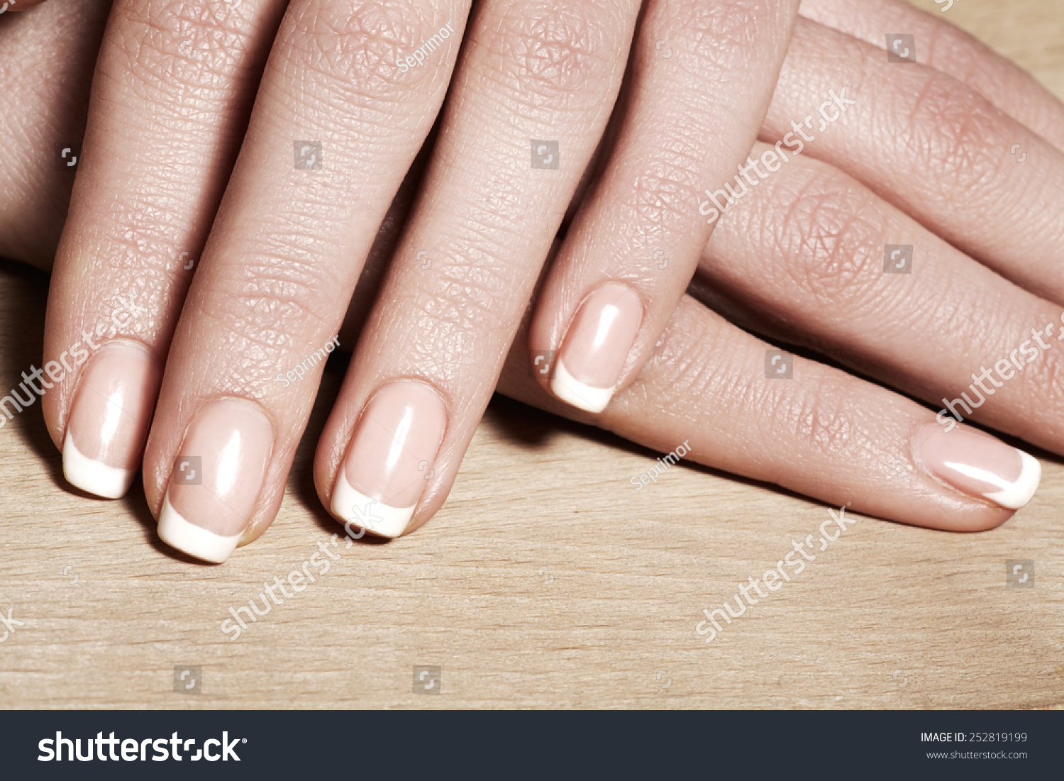 Beautiful Womans Nails Perfect French Manicure Stock Photo (Edit Now ...