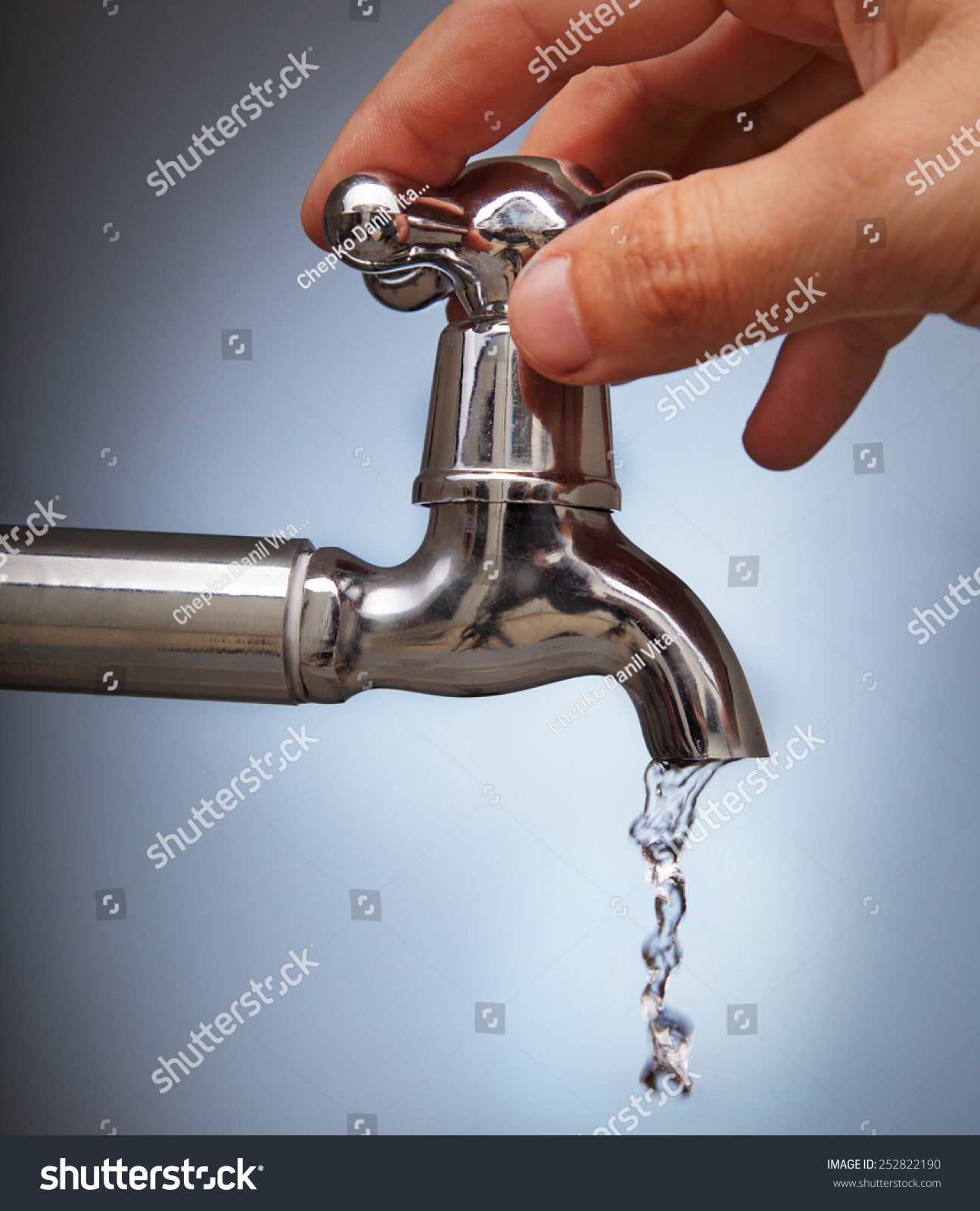 Mans Hand Closes Leakage Water Faucet Stock Photo & Image (Royalty ...