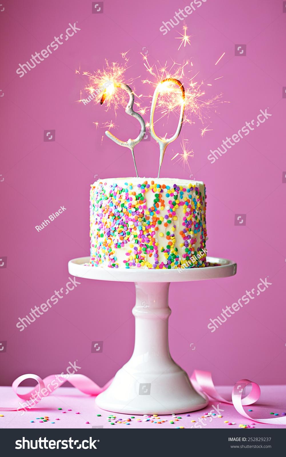 30th Birthday Cake Sparklers Stock Photo Edit Now 252829237
