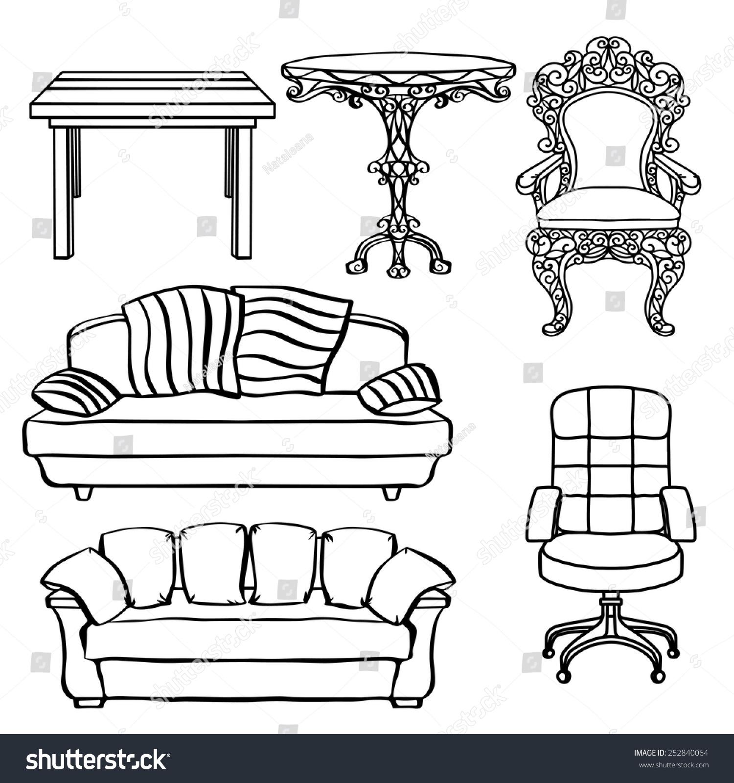 Furniture Set Armchair Sofa Table Chair Stock Vector