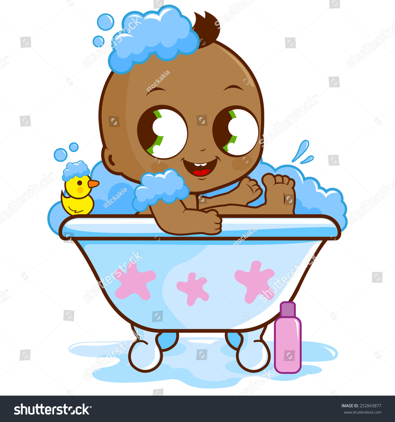 baby boy taking bath stock vector 252843877 shutterstock. Black Bedroom Furniture Sets. Home Design Ideas