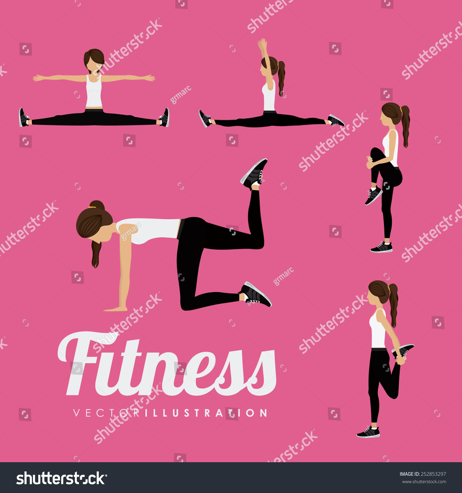 Fitness Design Over Pink Background Vector Stock Vector 252853297 ... for Physical Fitness Design  303mzq