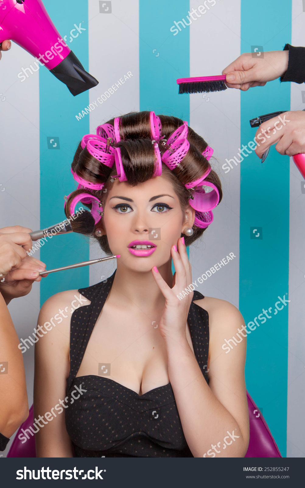 Retro pin woman getting pampered beauty stock photo for 1950 s beauty salon