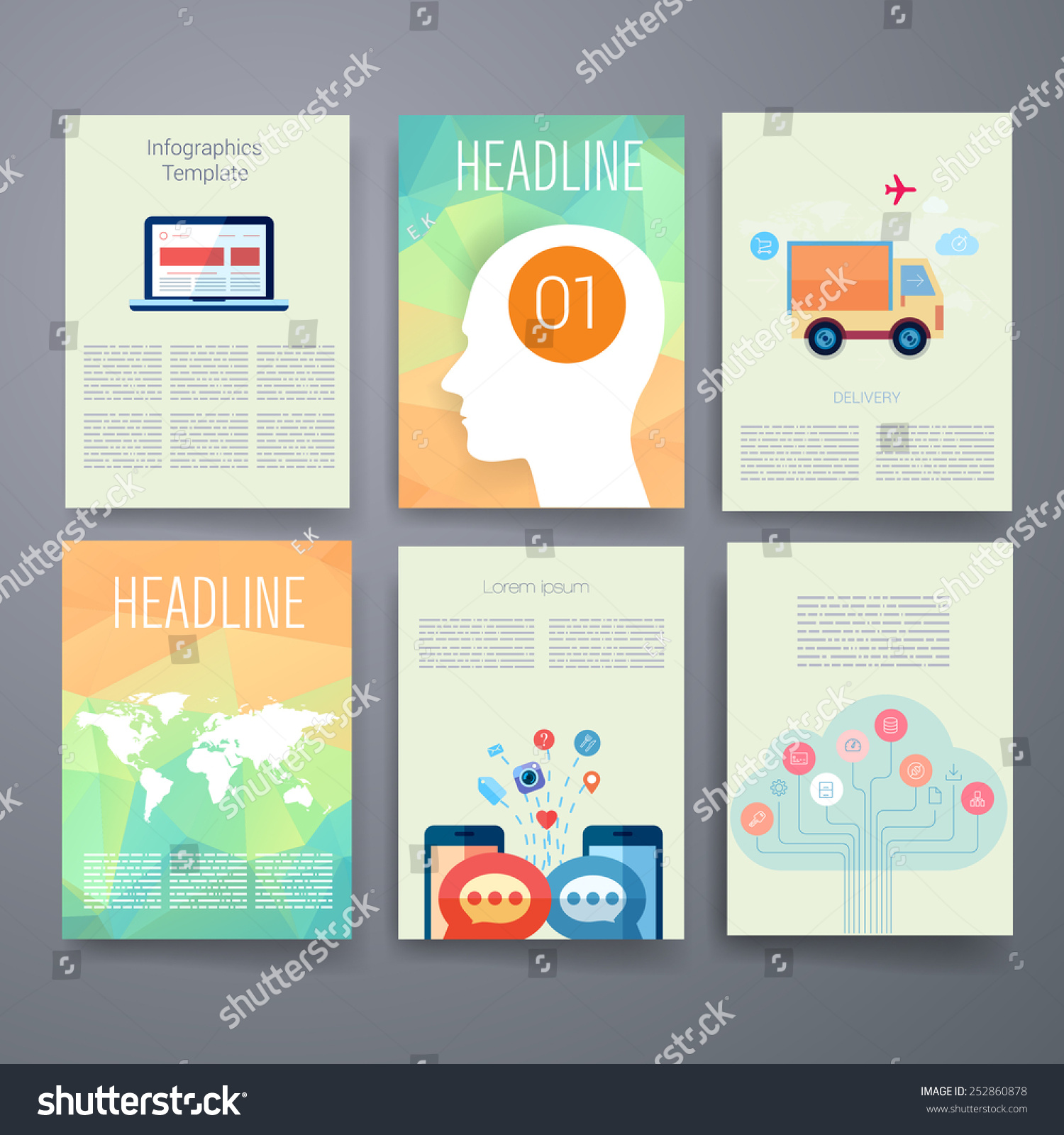 Templates Design Set Web Mail Brochures Stock Vector