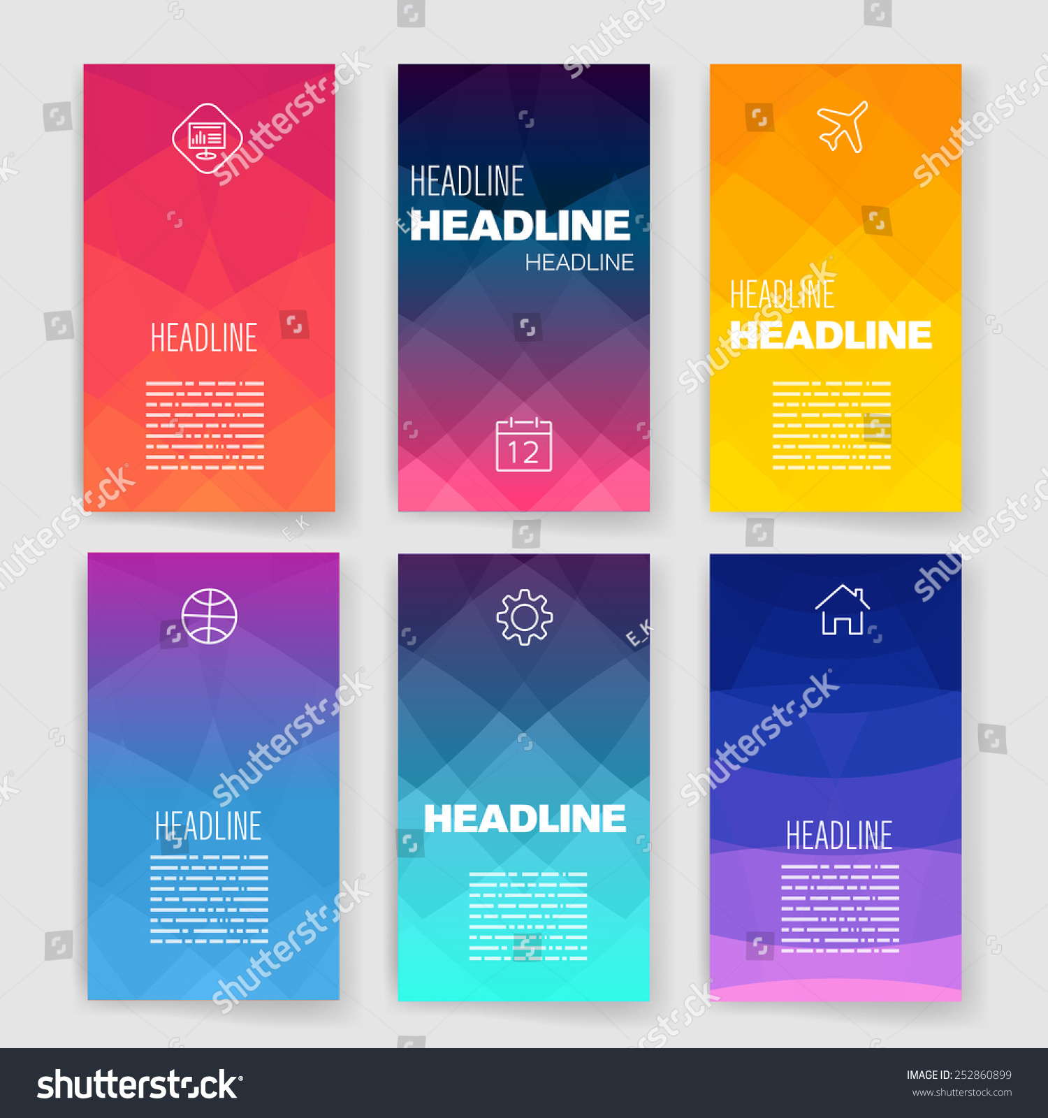 Templates design set web mail brochures stock vector for Mobile app privacy policy template