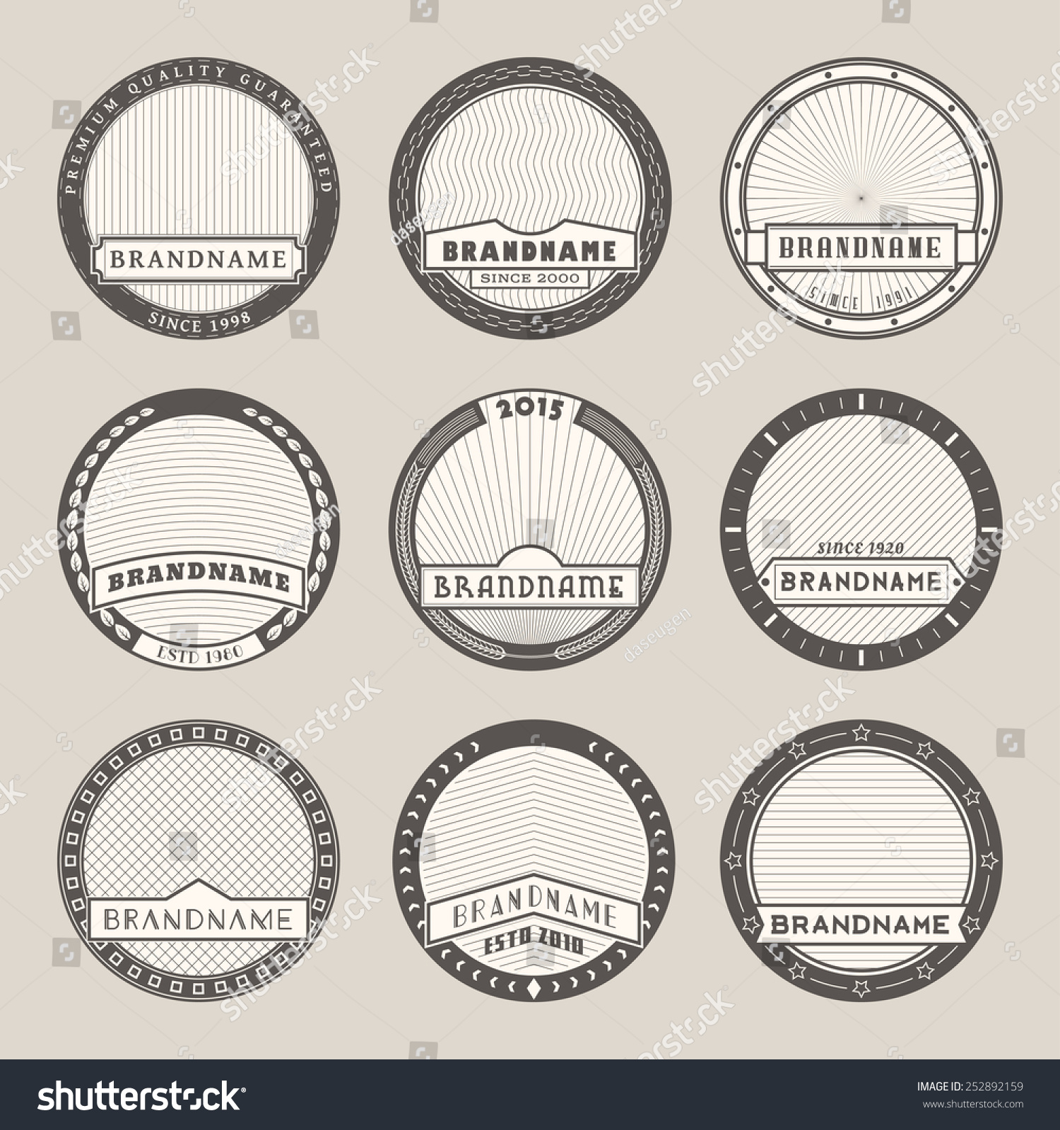 set vector round label templateslogotypes badges stock vector 252892159 shutterstock. Black Bedroom Furniture Sets. Home Design Ideas