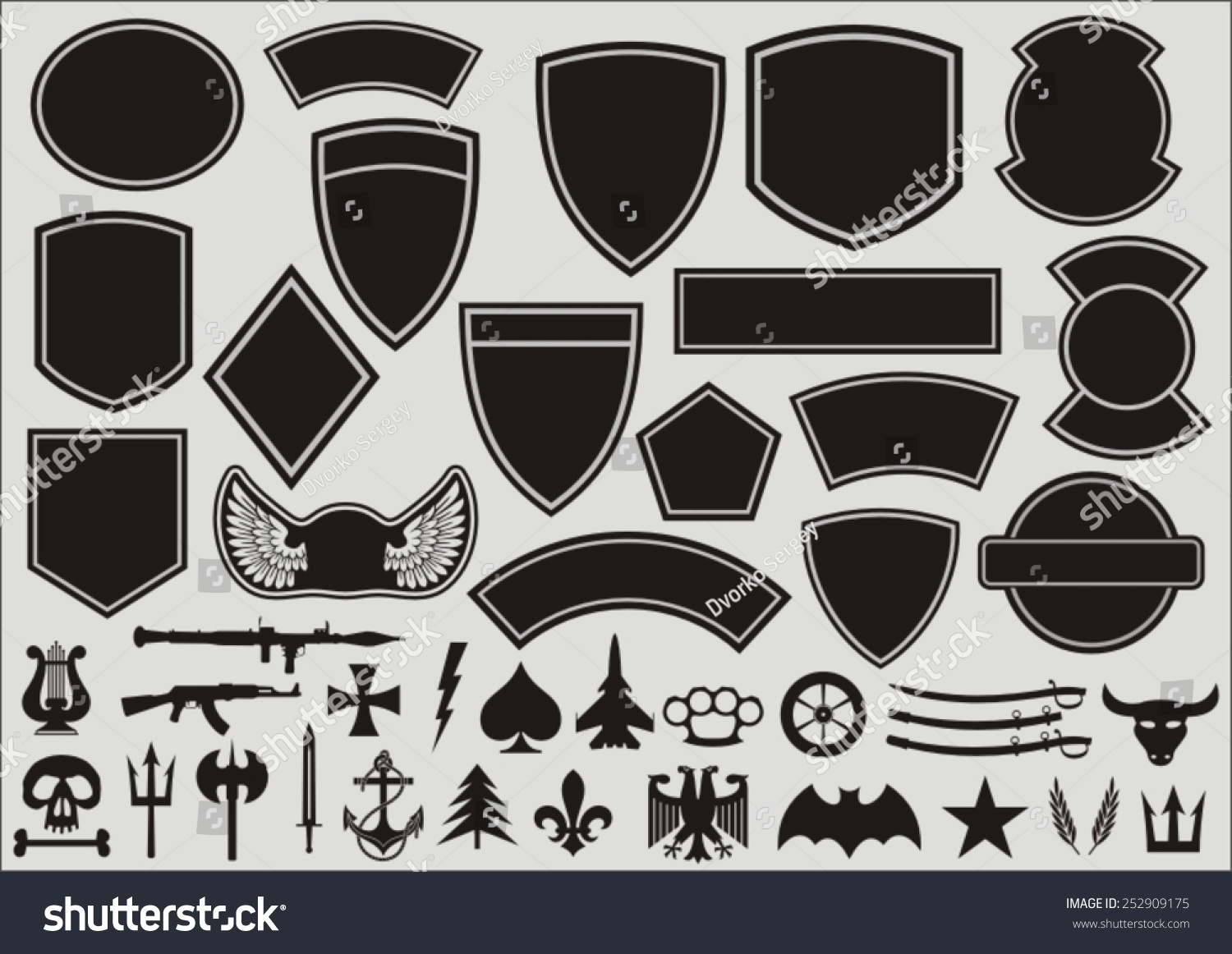 military patch template set designing military patches stock vector 252909175