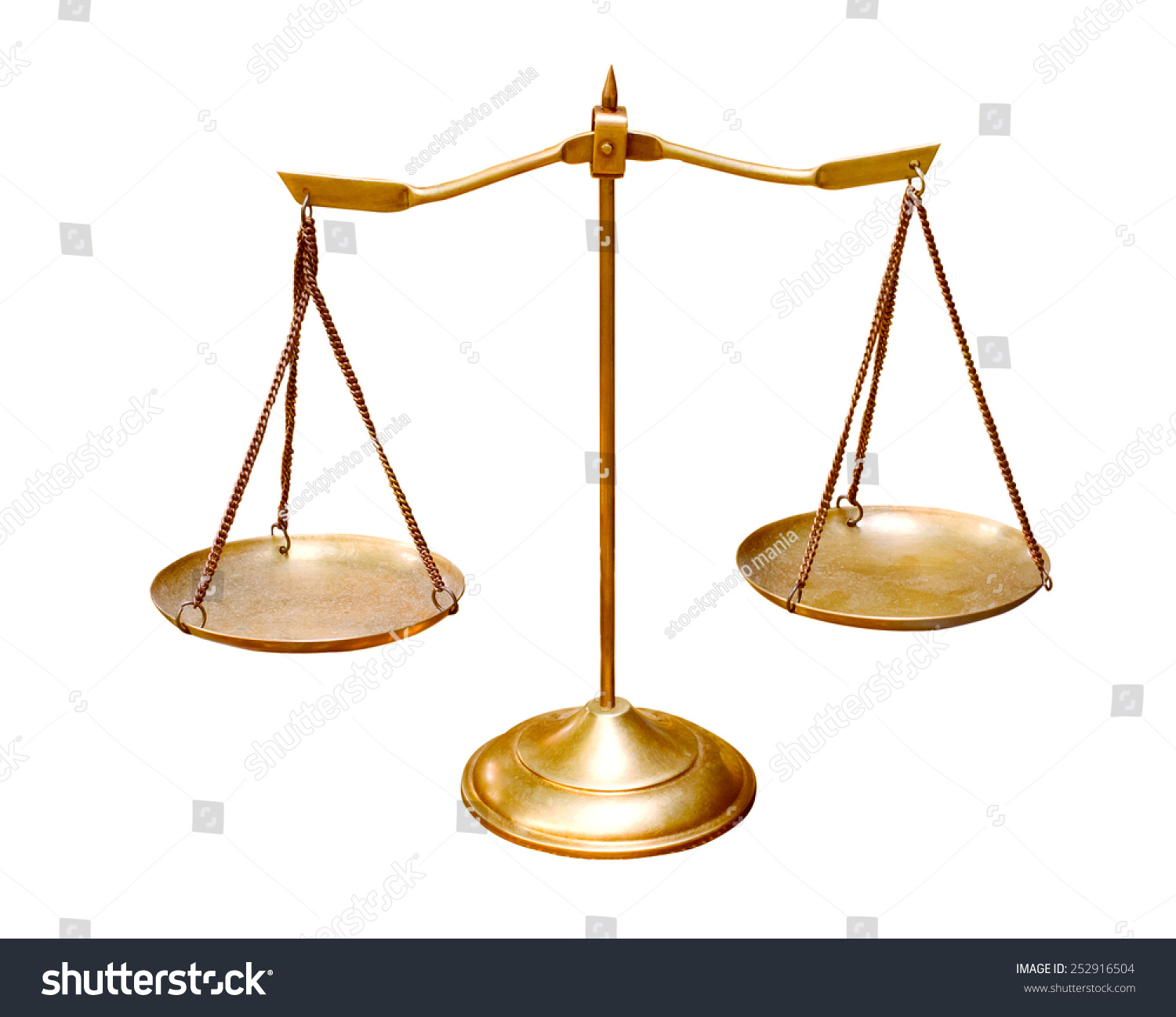 gold brass balance scale isolated on stock photo 252916504