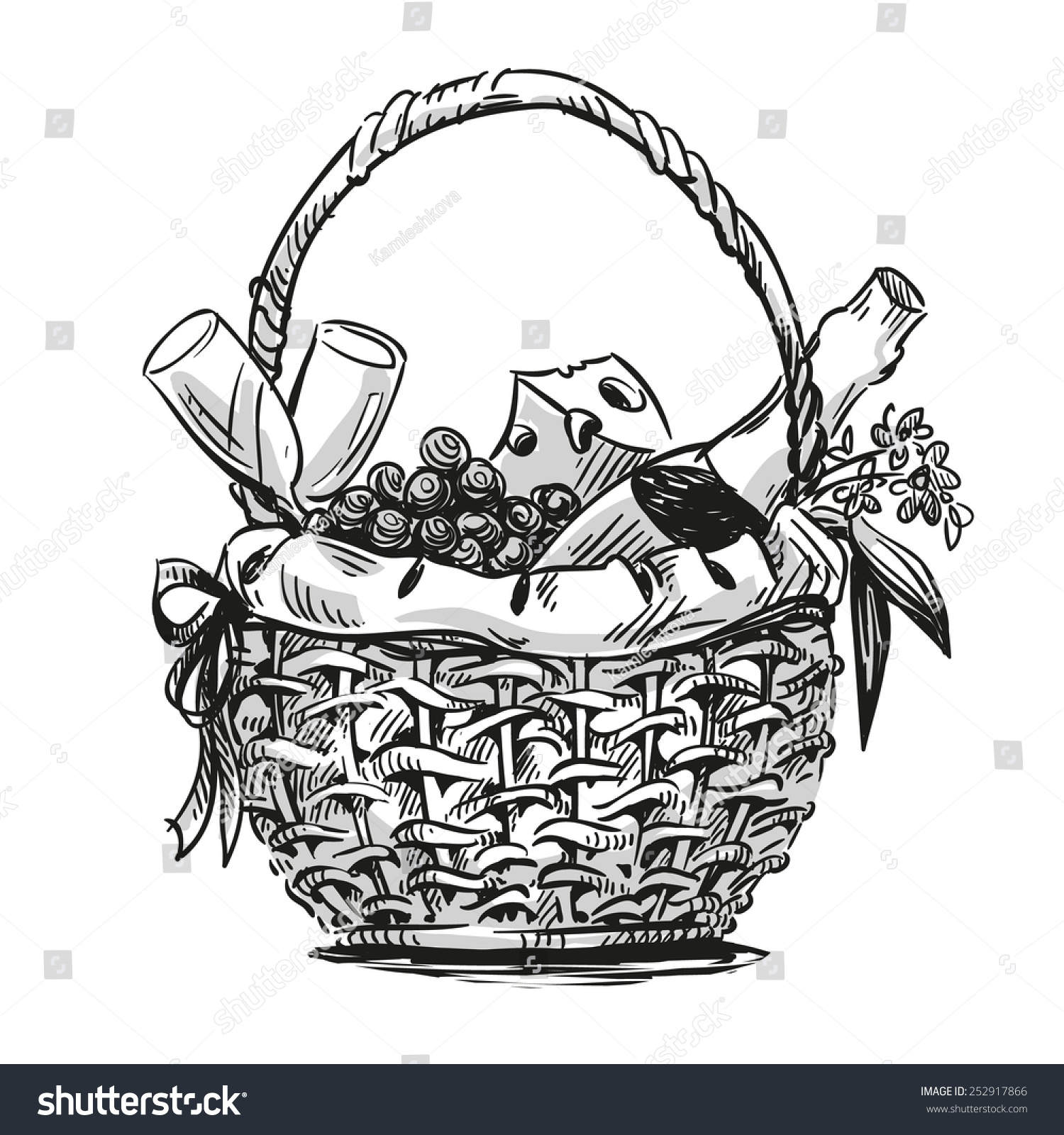 picnic basket snack hand drawn stock illustration 252917866