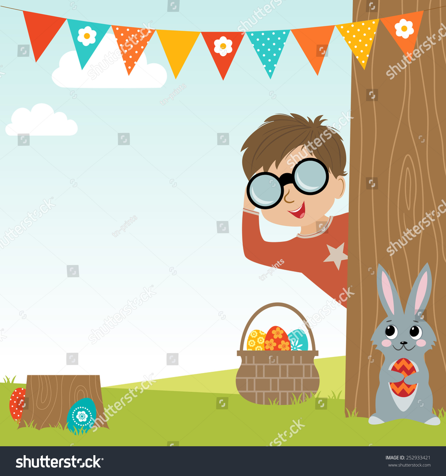 Easter Egg Hunt Background With Copy Space