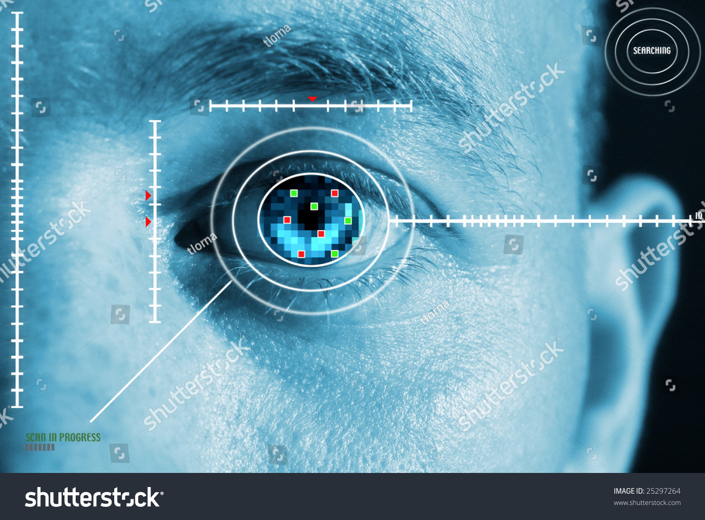 Iris Scan Security Identification Eye Scanner Stock Photo