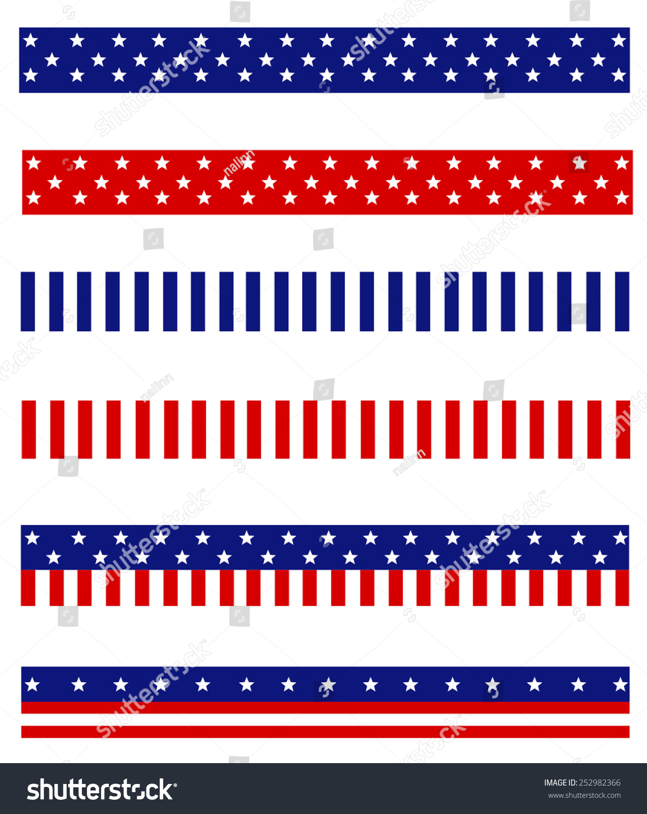 Collection Blue Red Patriotic Stars Stripes Stock Vector 252982366 ...