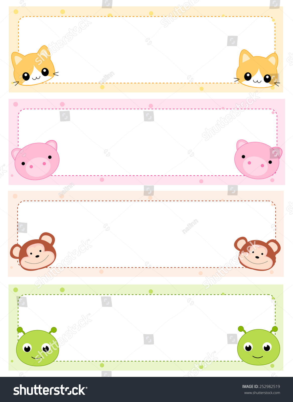 Colorful Kids Name Tags Cute Animal Stock Vector 252982519