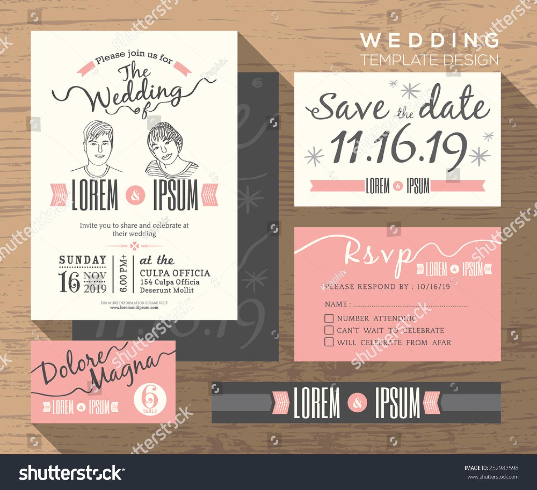 wedding invitation set design template vector stock vector