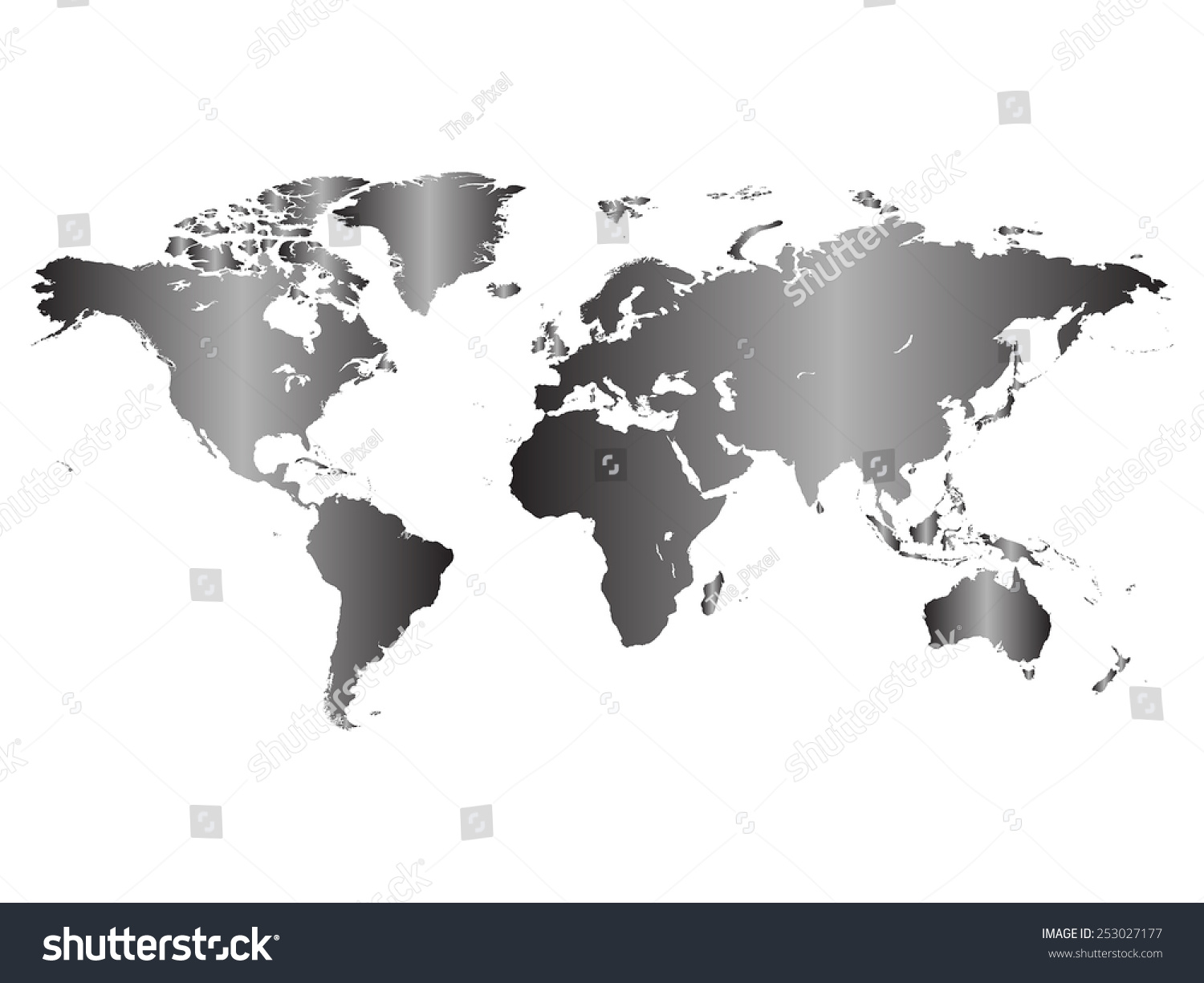 Black white gradient world map vector vectores en stock 253027177 black and white gradient world map vector illustration isolated on white background gumiabroncs Image collections