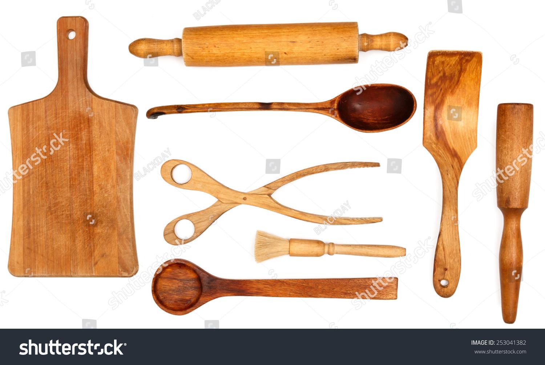 Wooden Kitchen Utensils On White Background Stock Photo (Safe to Use ...