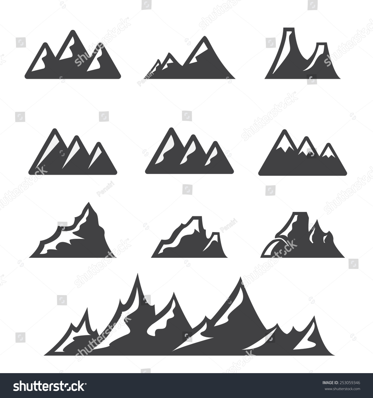 Mountain Icon Stock Vector Illustration 253059346 ...