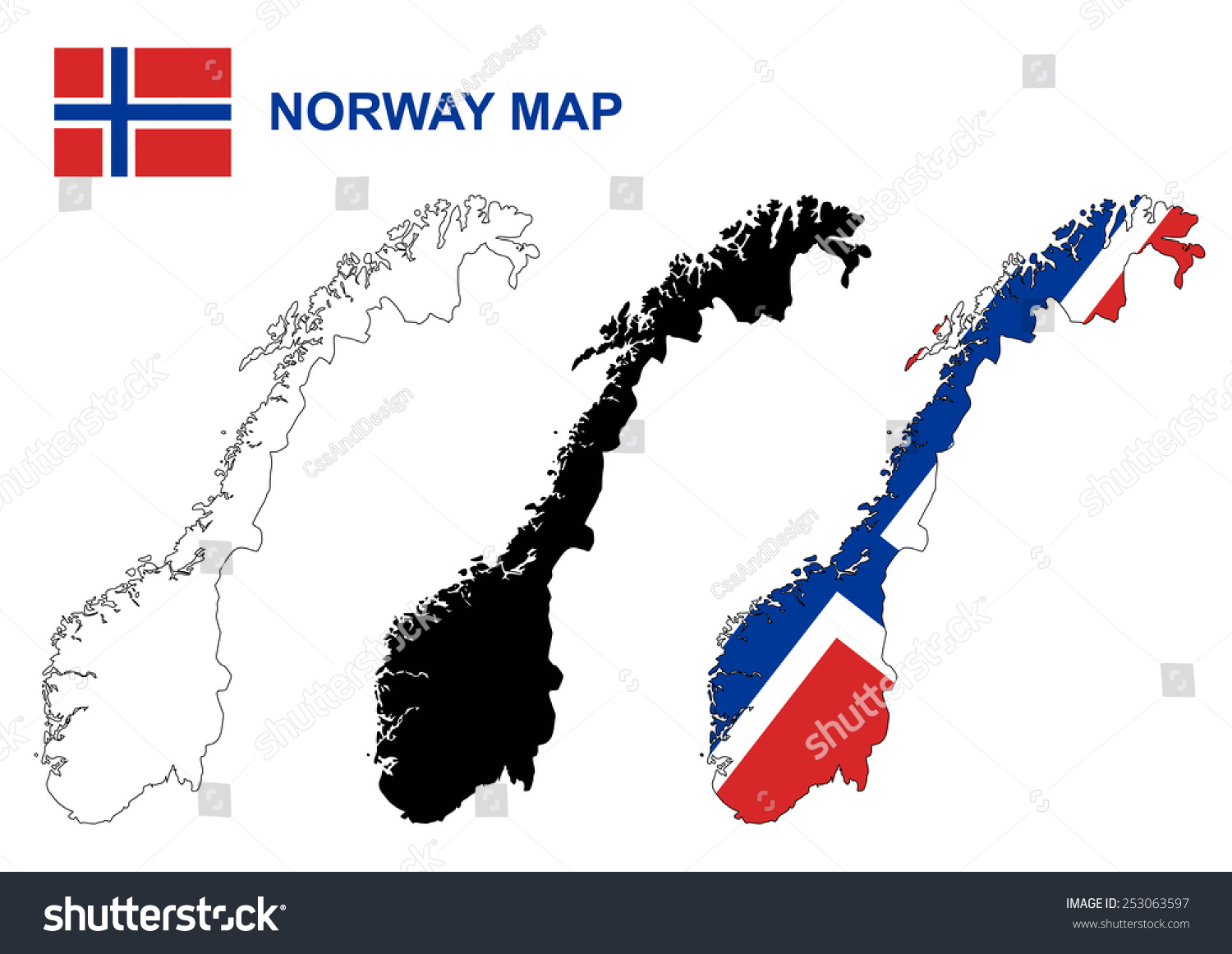 Norway Map Vector Norway Flag Vector Stock Vector - Norway map and flag