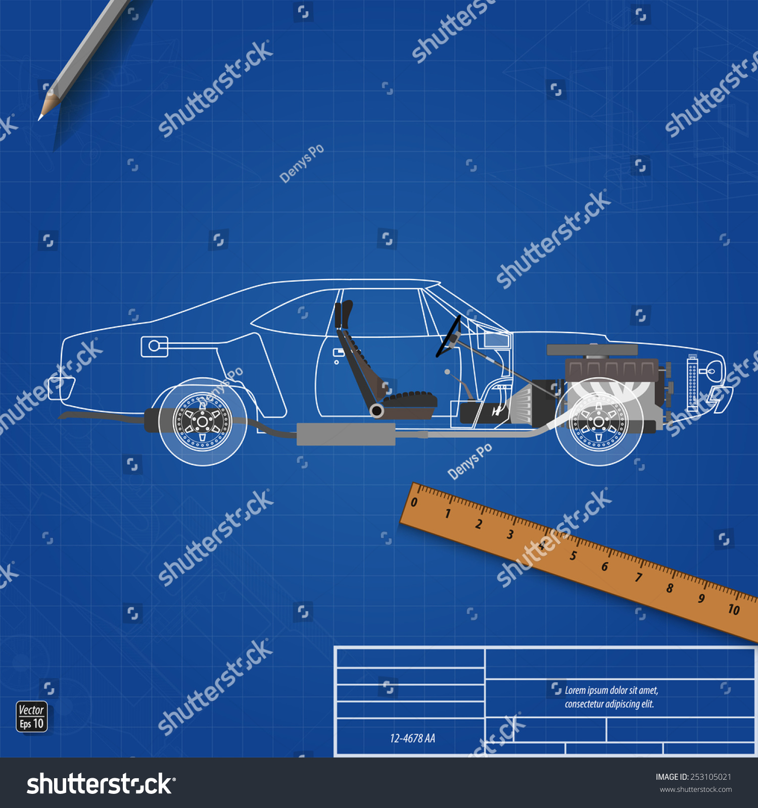 Blueprint car vector illustration eps 10 vectores en stock 253105021 blueprint car vector illustration eps 10 malvernweather Images