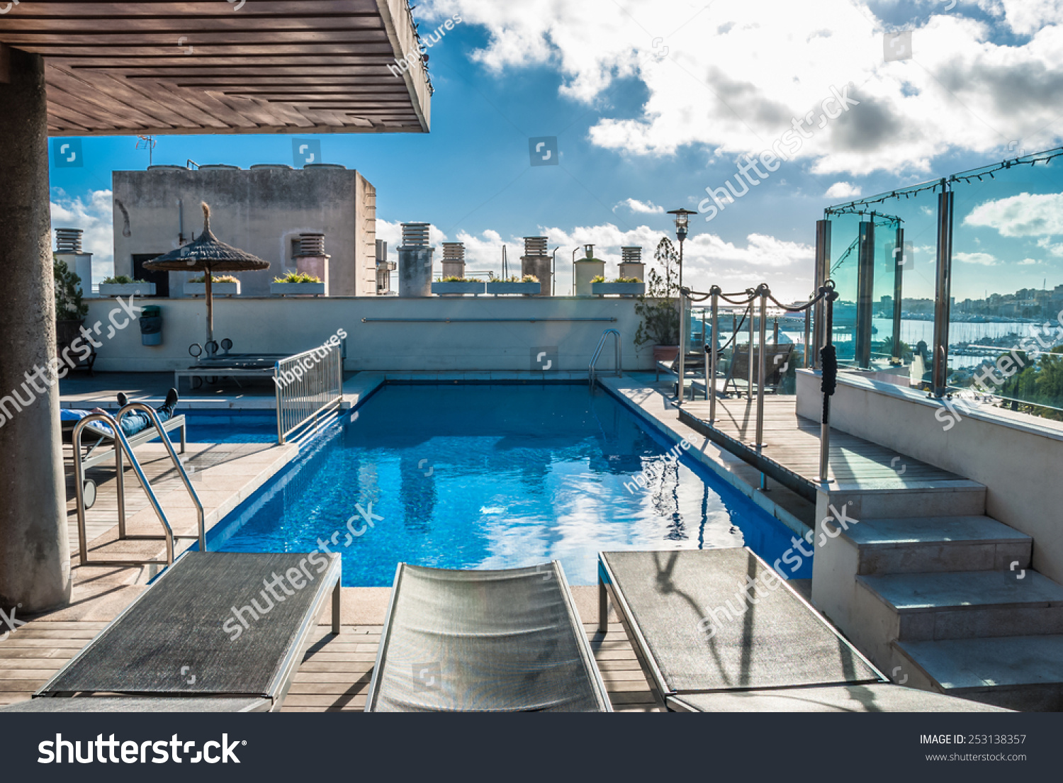 Architectural Swimming Pool At Building Rooftop In Palma