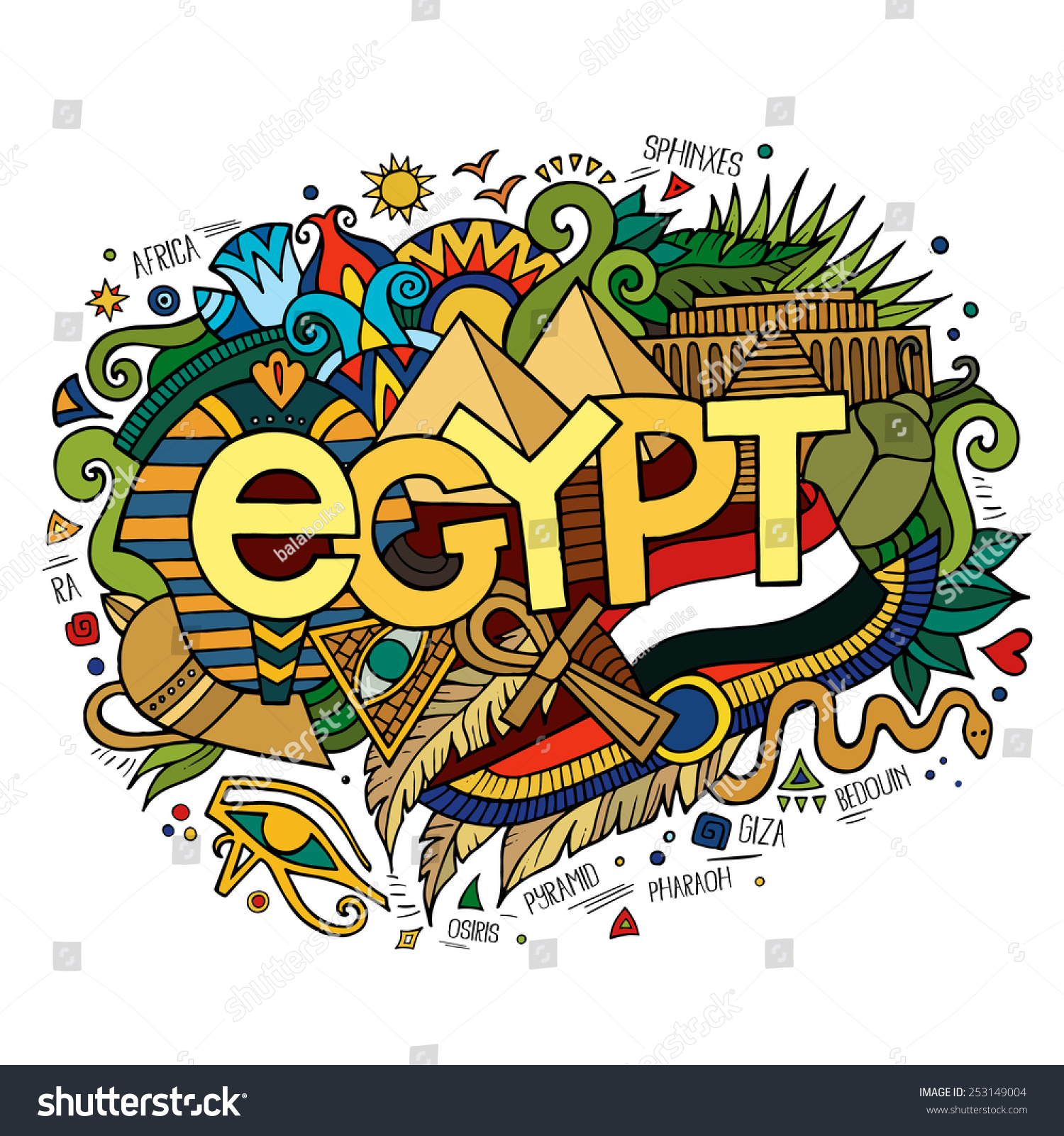Stock vector music hand lettering and doodles elements - Egypt Hand Lettering And Doodles Elements Background Vector Illustration