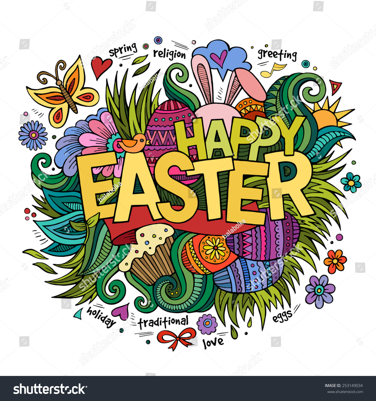 Stock vector music hand lettering and doodles elements - Easter Hand Lettering And Doodles Elements Vector Illustration