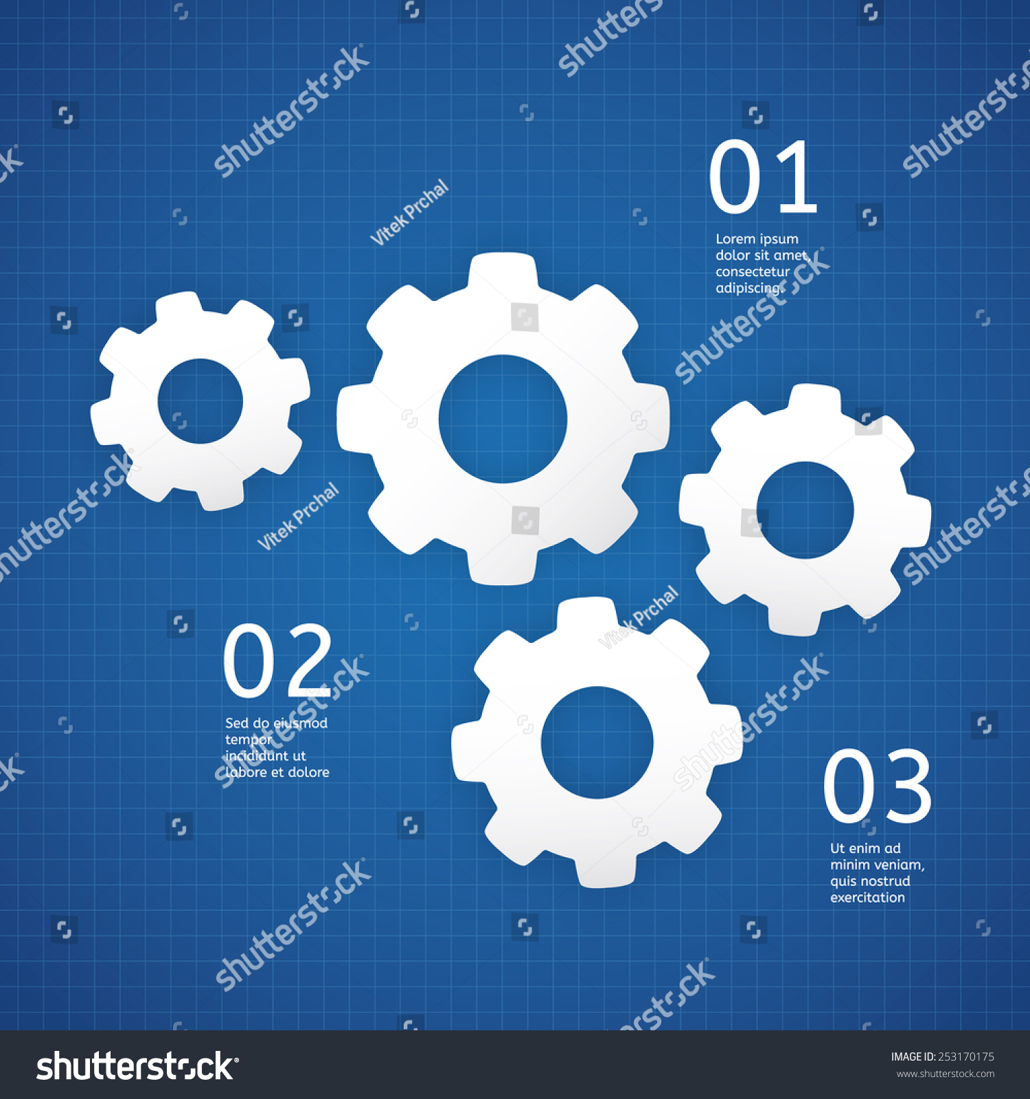 Vector technical template white cogwheels on stock vector vector technical template white cogwheels on blueprint background template with place for your text malvernweather Image collections