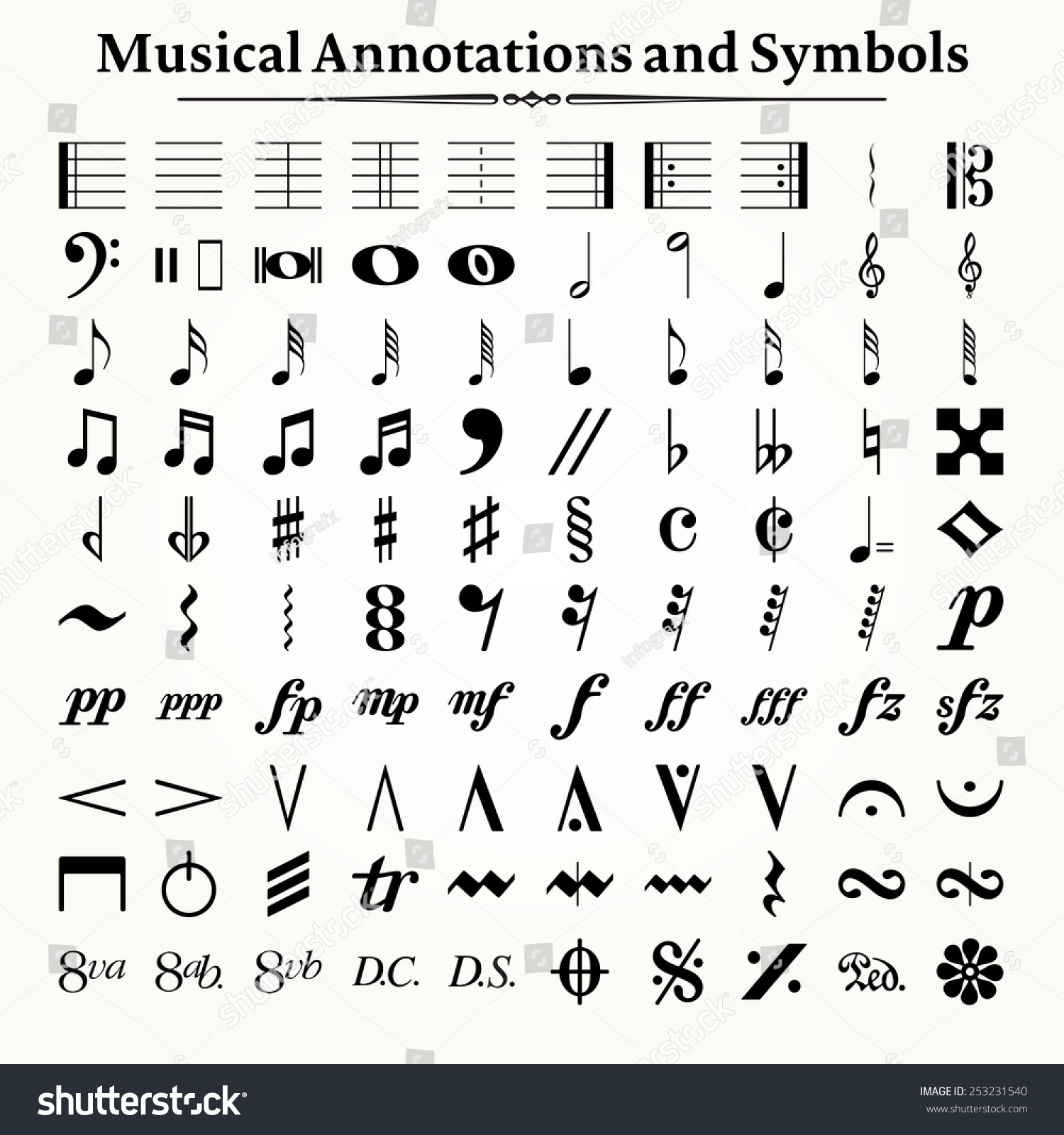 Elements musical symbols icons annotations stock vector 253231540 elements of musical symbols icons and annotations biocorpaavc Images