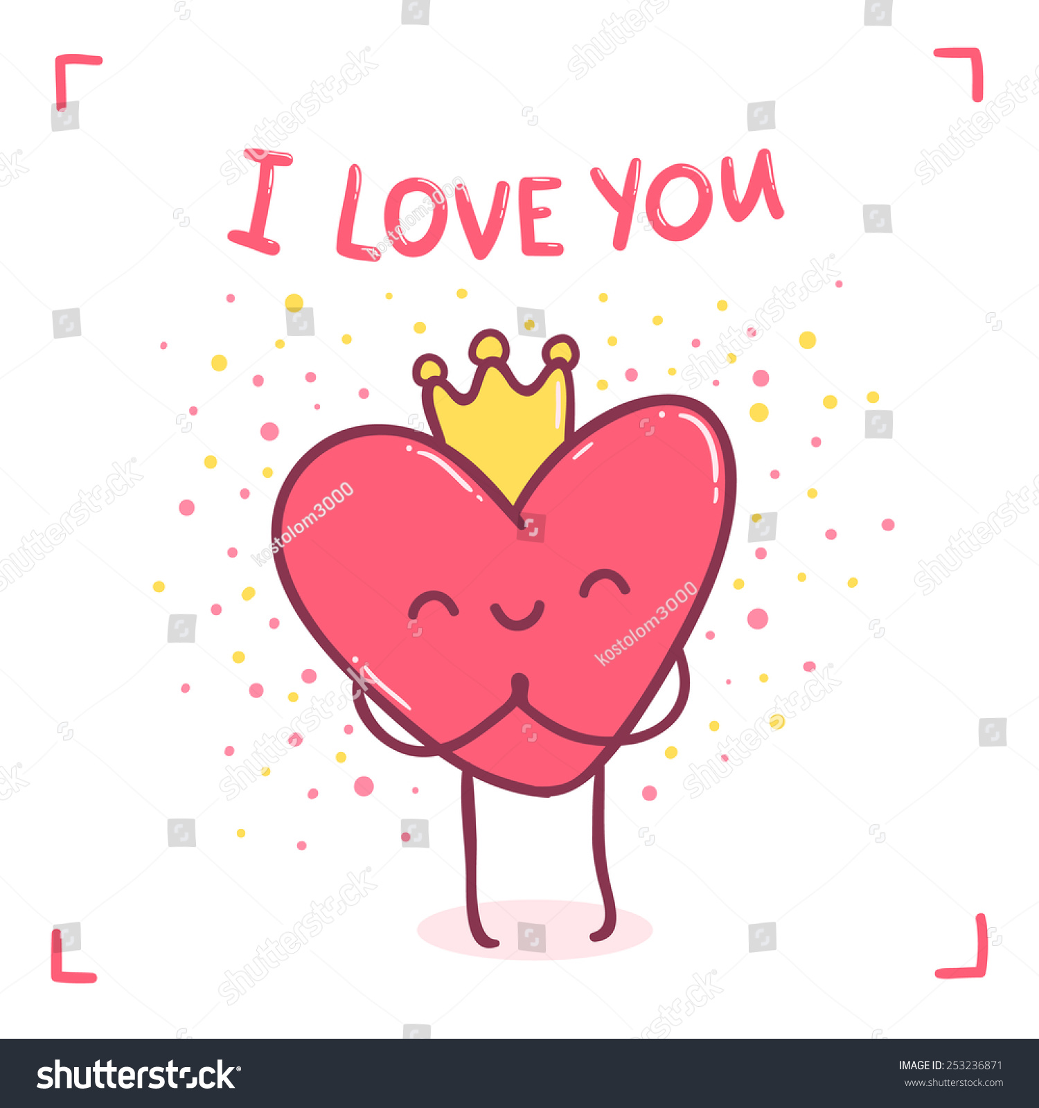 cute cartoon heart character love you stock vector 253236871