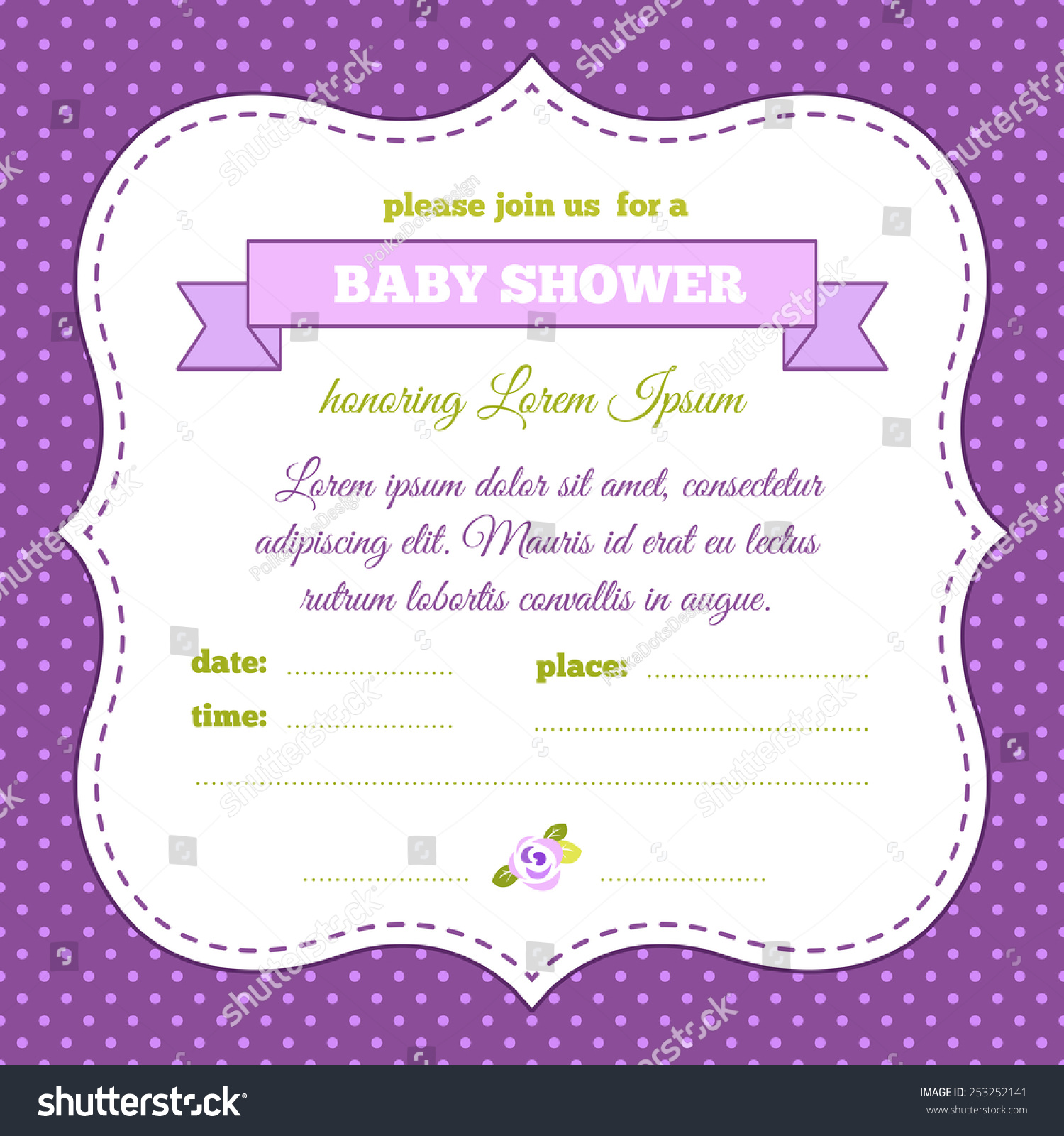 Baby shower invitation vintage frame polka stock vector royalty baby shower invitation vintage frame polka dot background purple and green colors filmwisefo