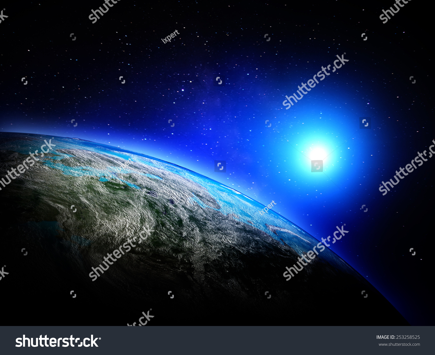World Map Space Elements This Image Stock Illustration - World map from outer space