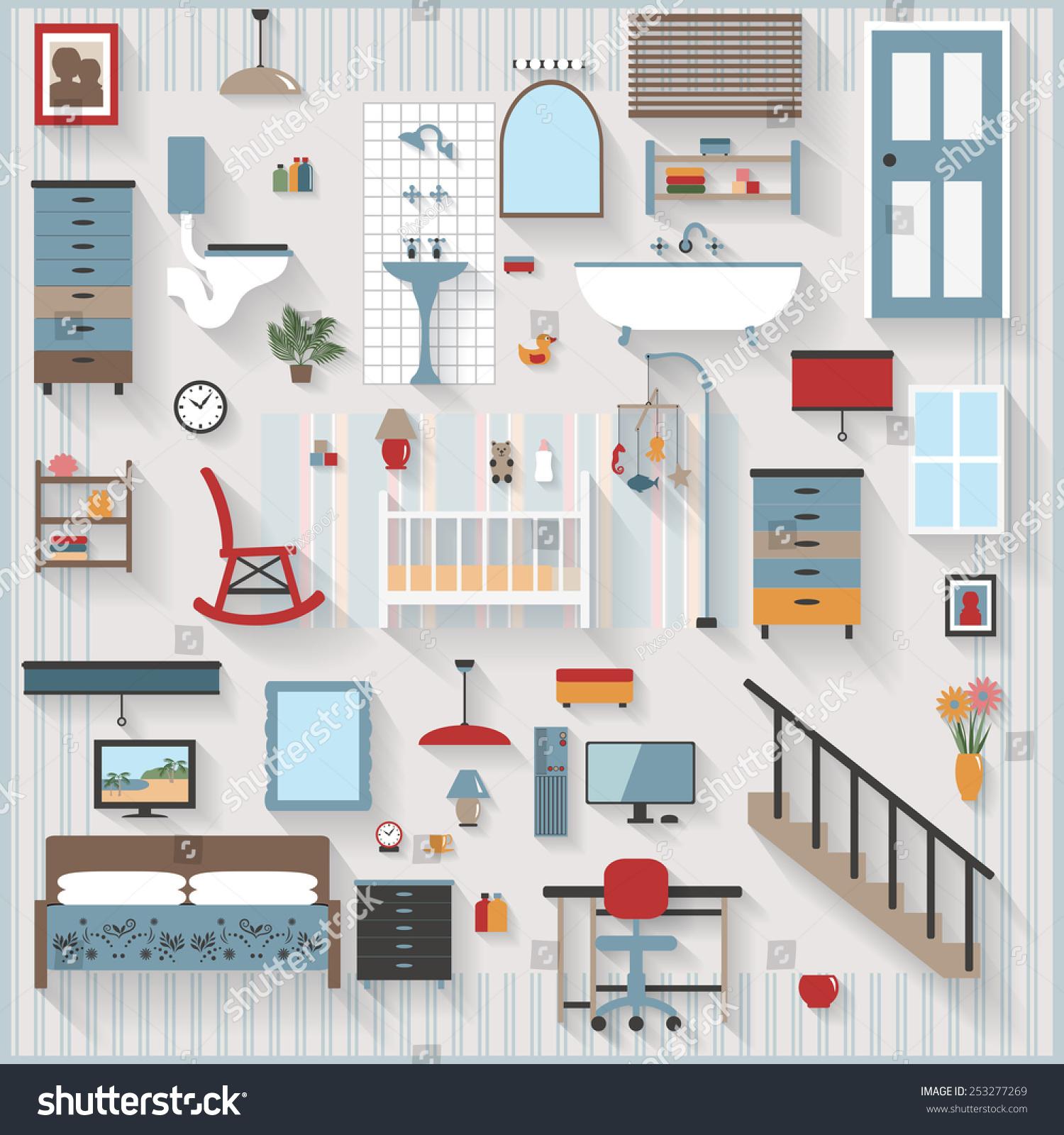 Furniture Long Shadows Icons Nursery Baby Stock Vector ...