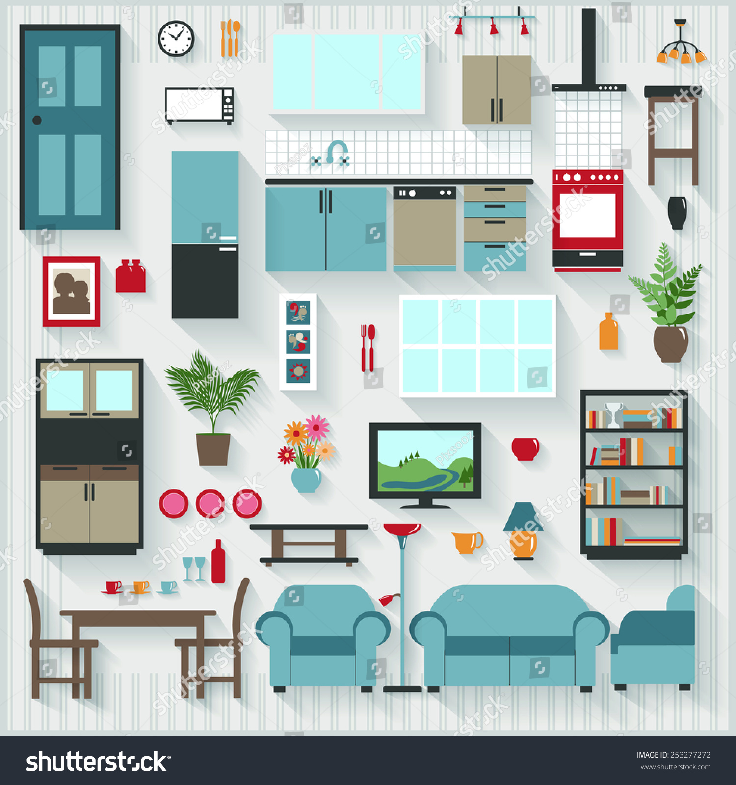 Furniture Long Shadows Icons Lounge Dining Stock Vector 253277272 ...