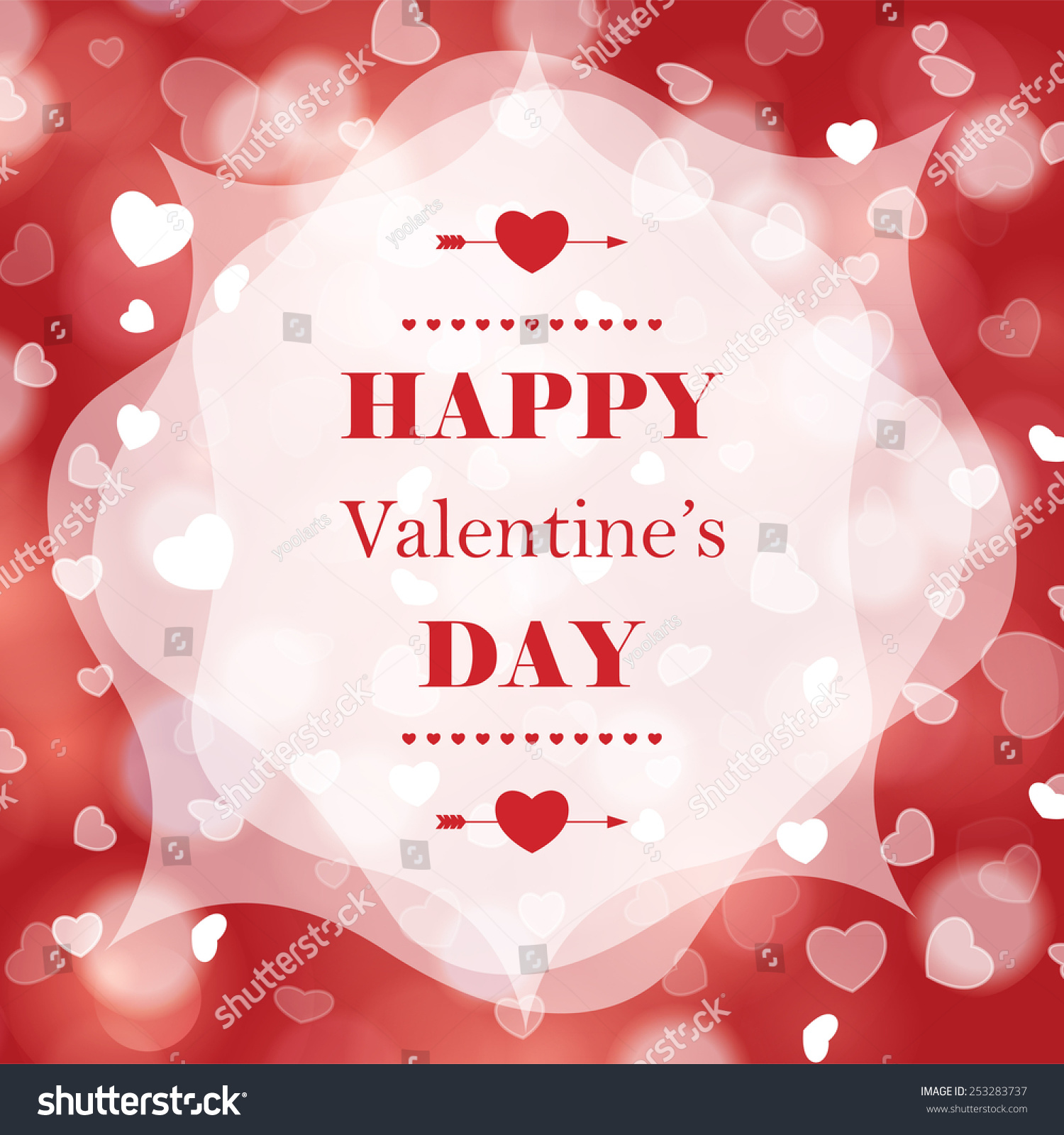 Happy Valentines Day Greeting Card Bokeh Stock Illustration