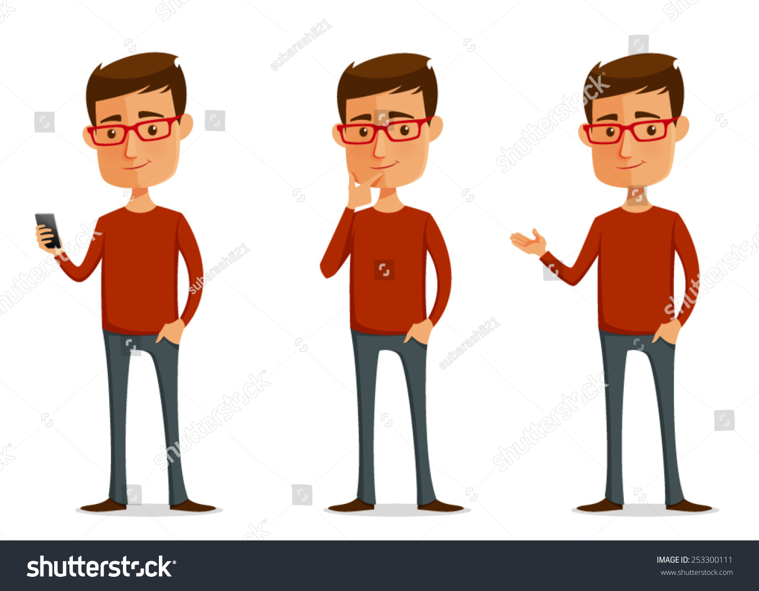 Funny Man with Glasses Clip Art