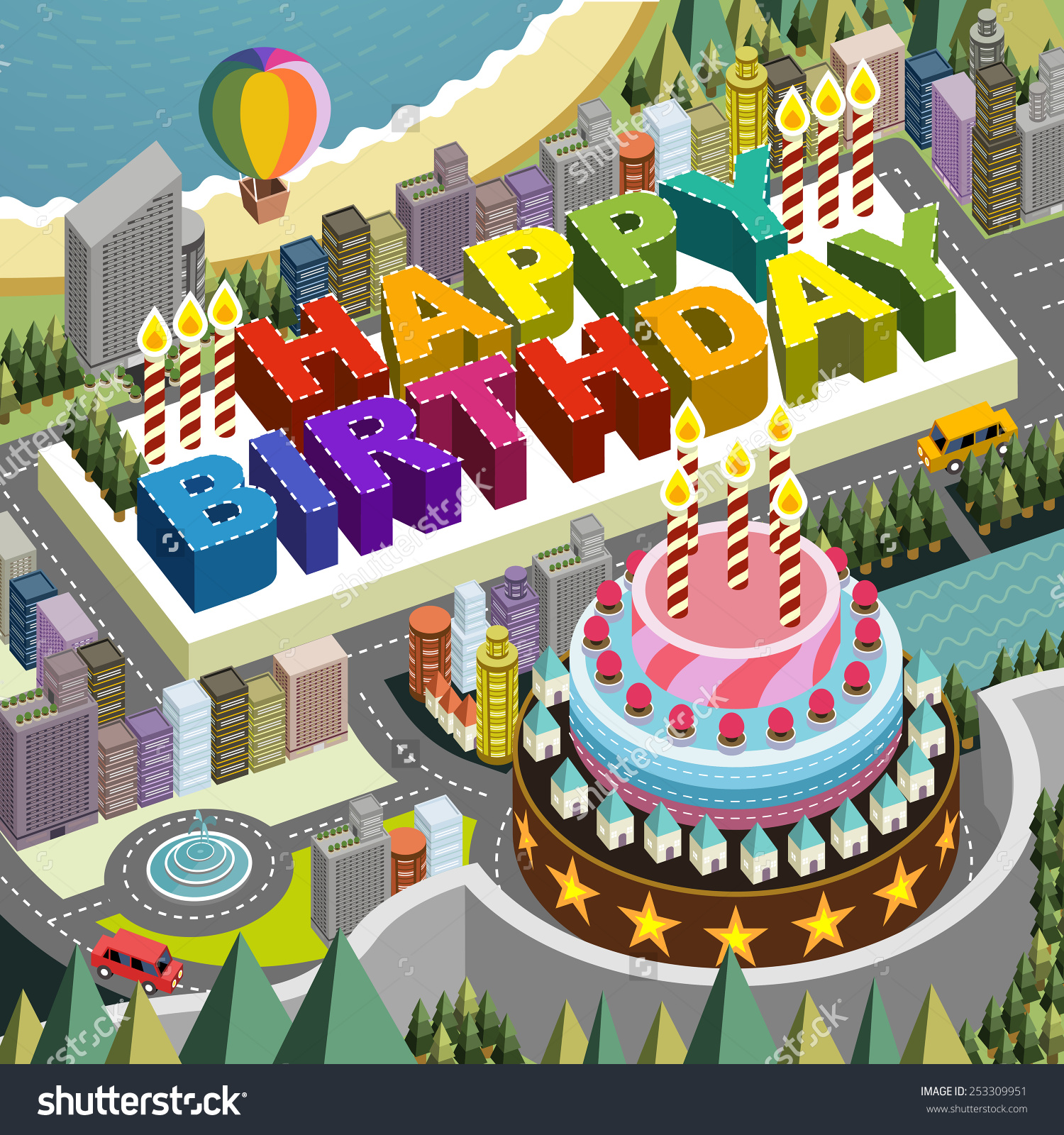 flat 3D isometric city scenery with big birthday cake illustration