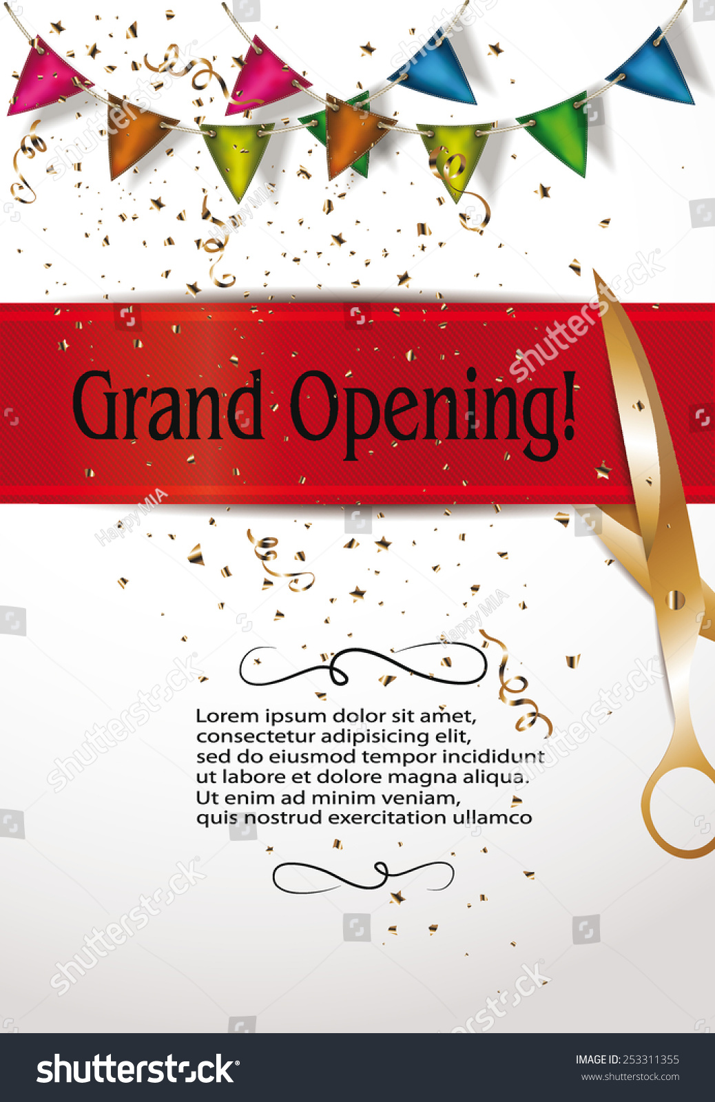 grand opening invitation cards decorations red stock vector 253311355 shutterstock. Black Bedroom Furniture Sets. Home Design Ideas