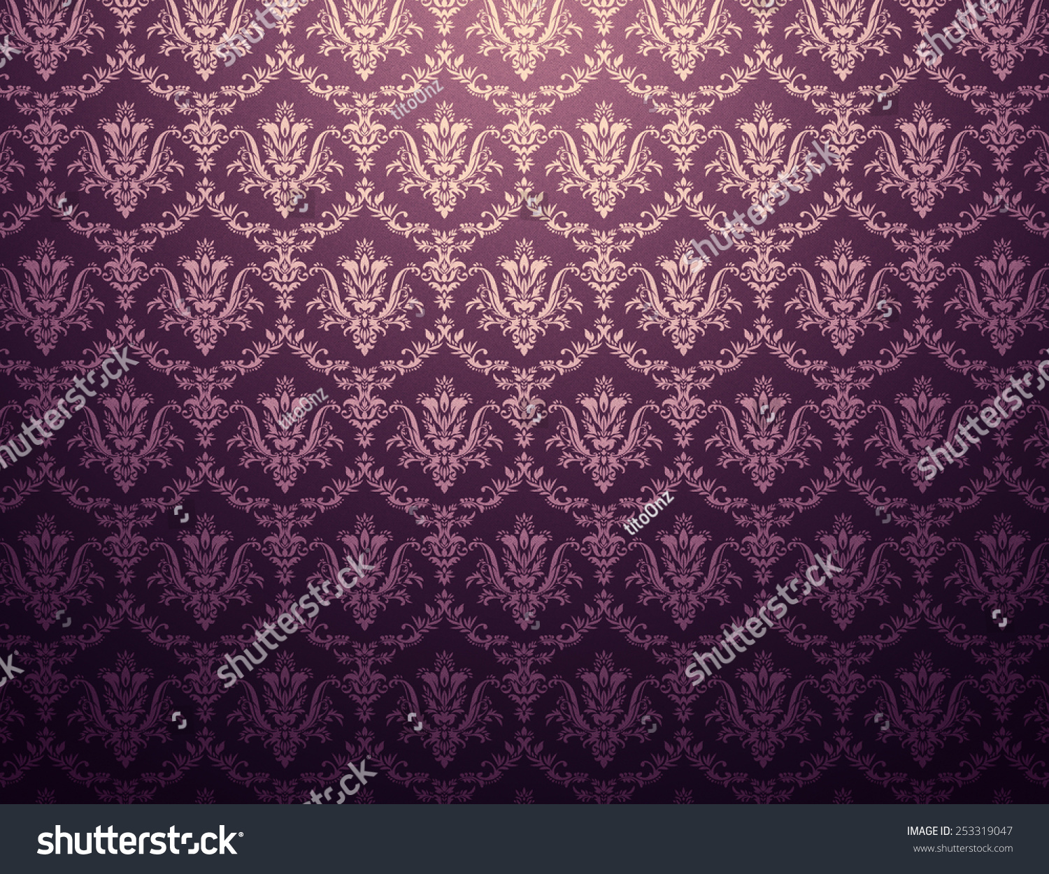 Dark Purple Wallpaper Golden Floral Pattern Stock Illustration 253319047