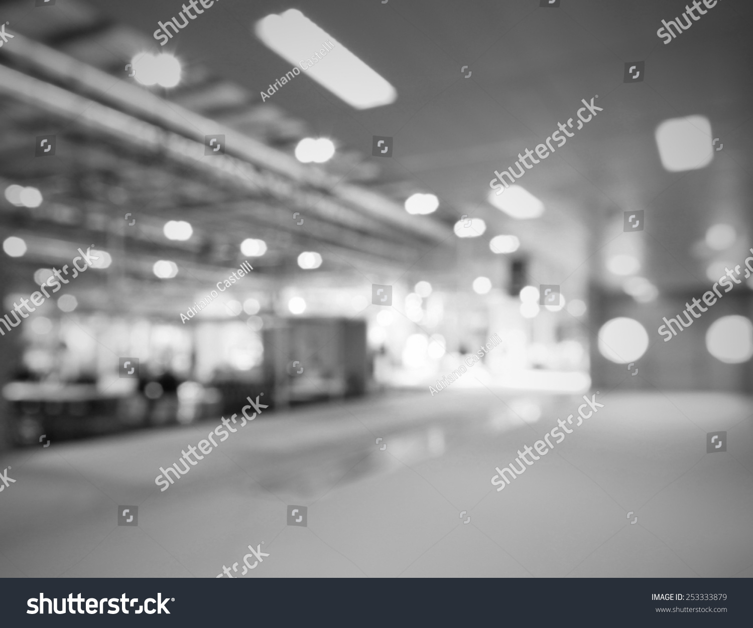 Trade Show Lights Background Intentionally Blurred Editing Post Production Black And White