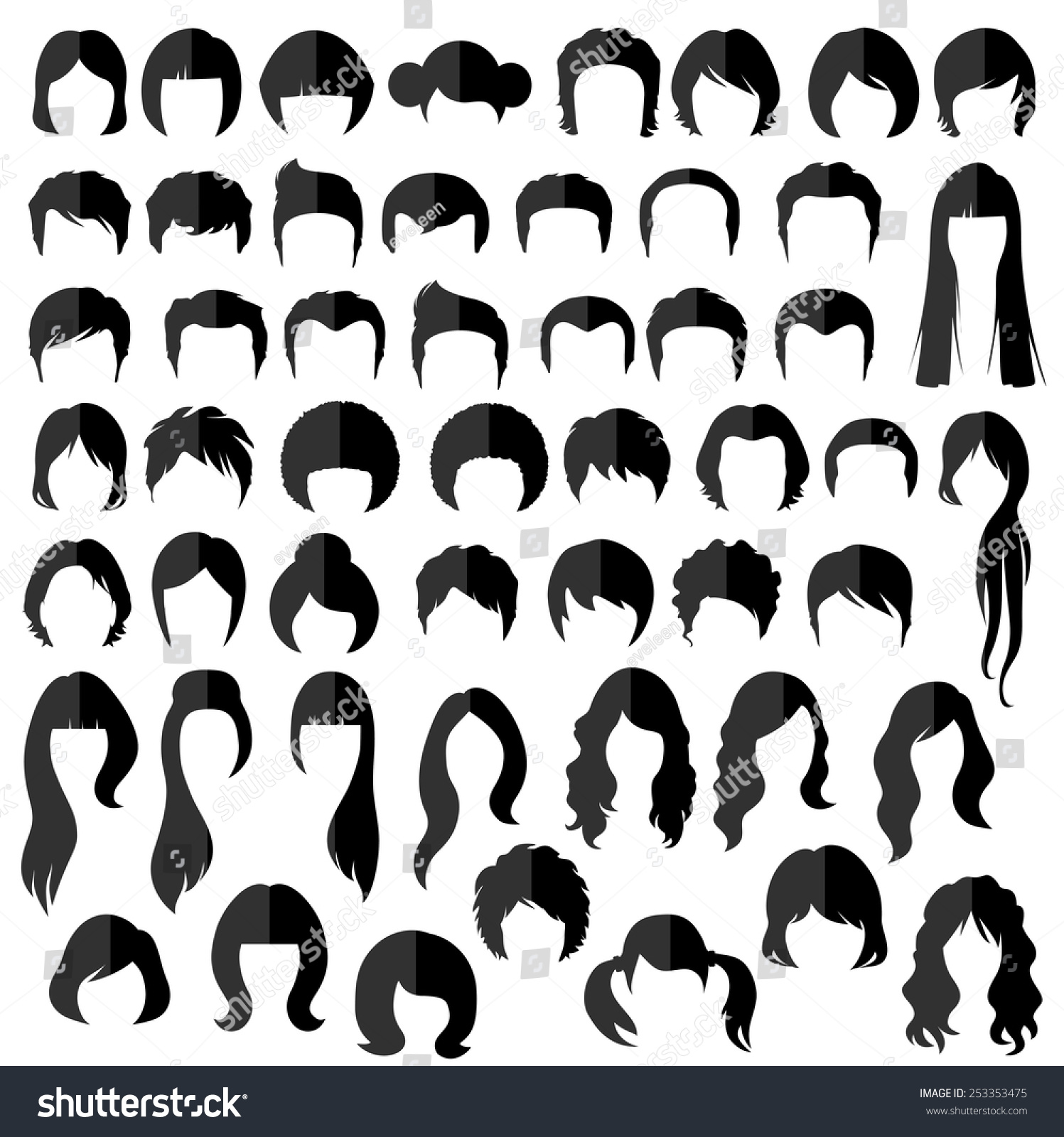woman , man hair, vector hairstyle silhouette #253353475 - larastock