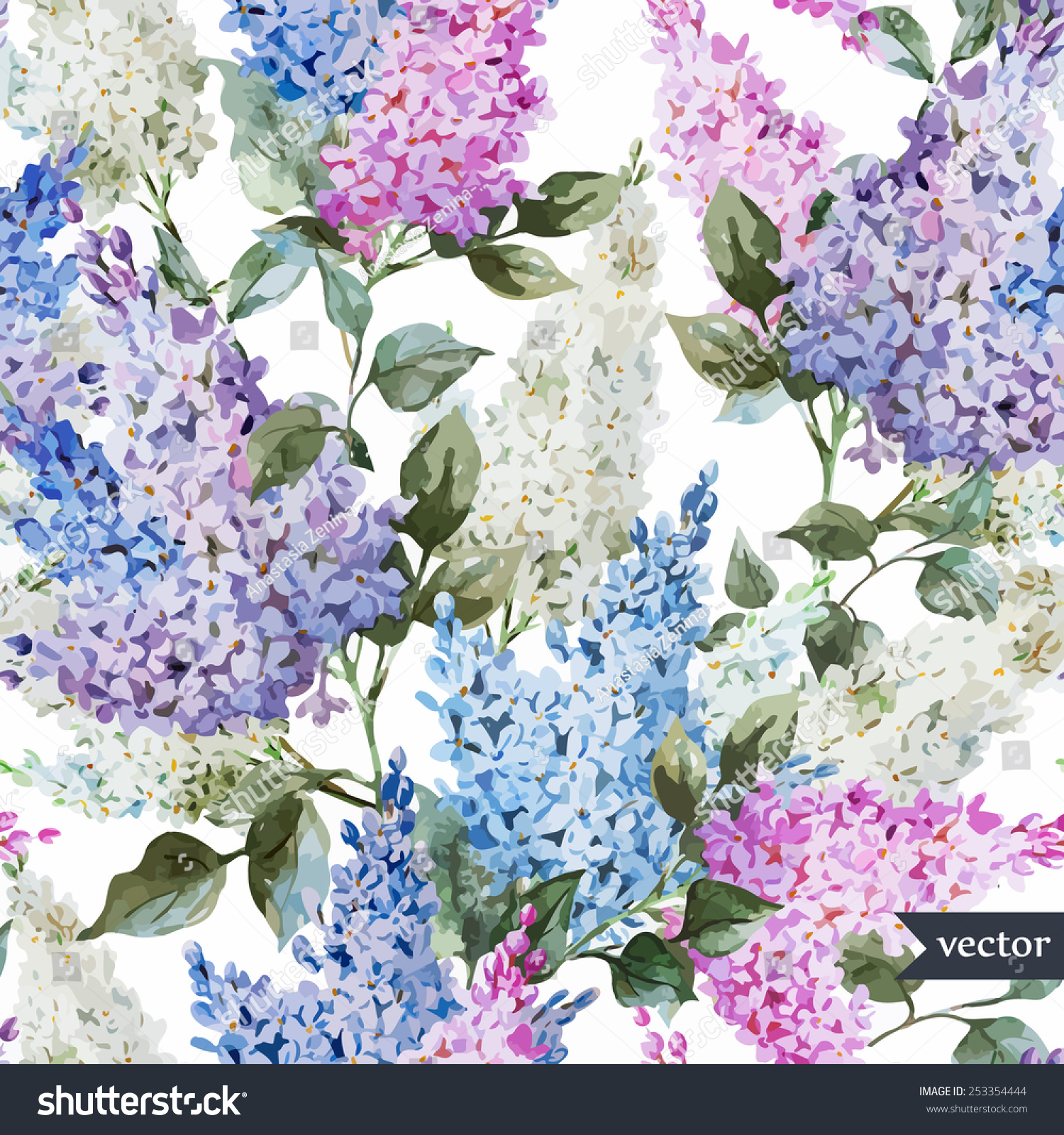 Vector Lilac Watercolor Flowers Pattern Wallpaper Stock
