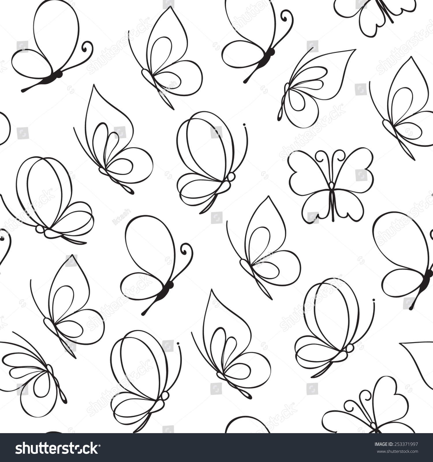 hand drawn simple butterfly pattern stock vector 253371997