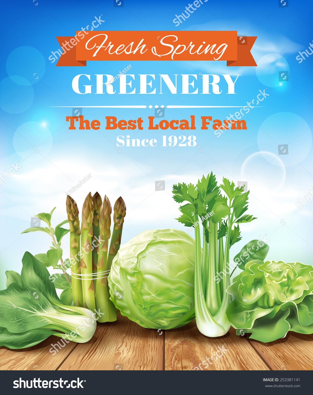 Poster design eps - Spring Vegetables Poster Design Vector Eps 10