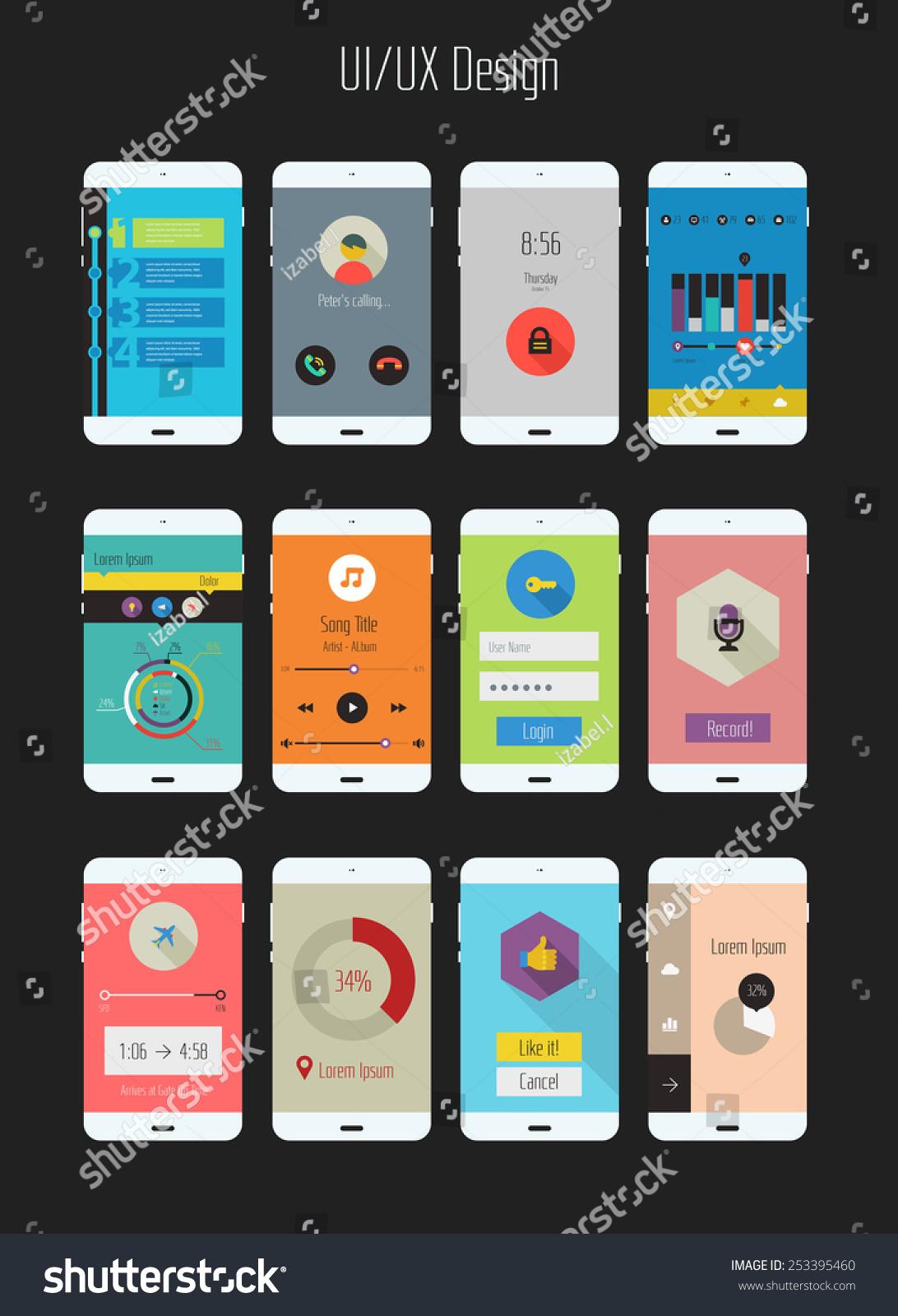 Flat Design Uiux Mobile Application Templates Stock Vector