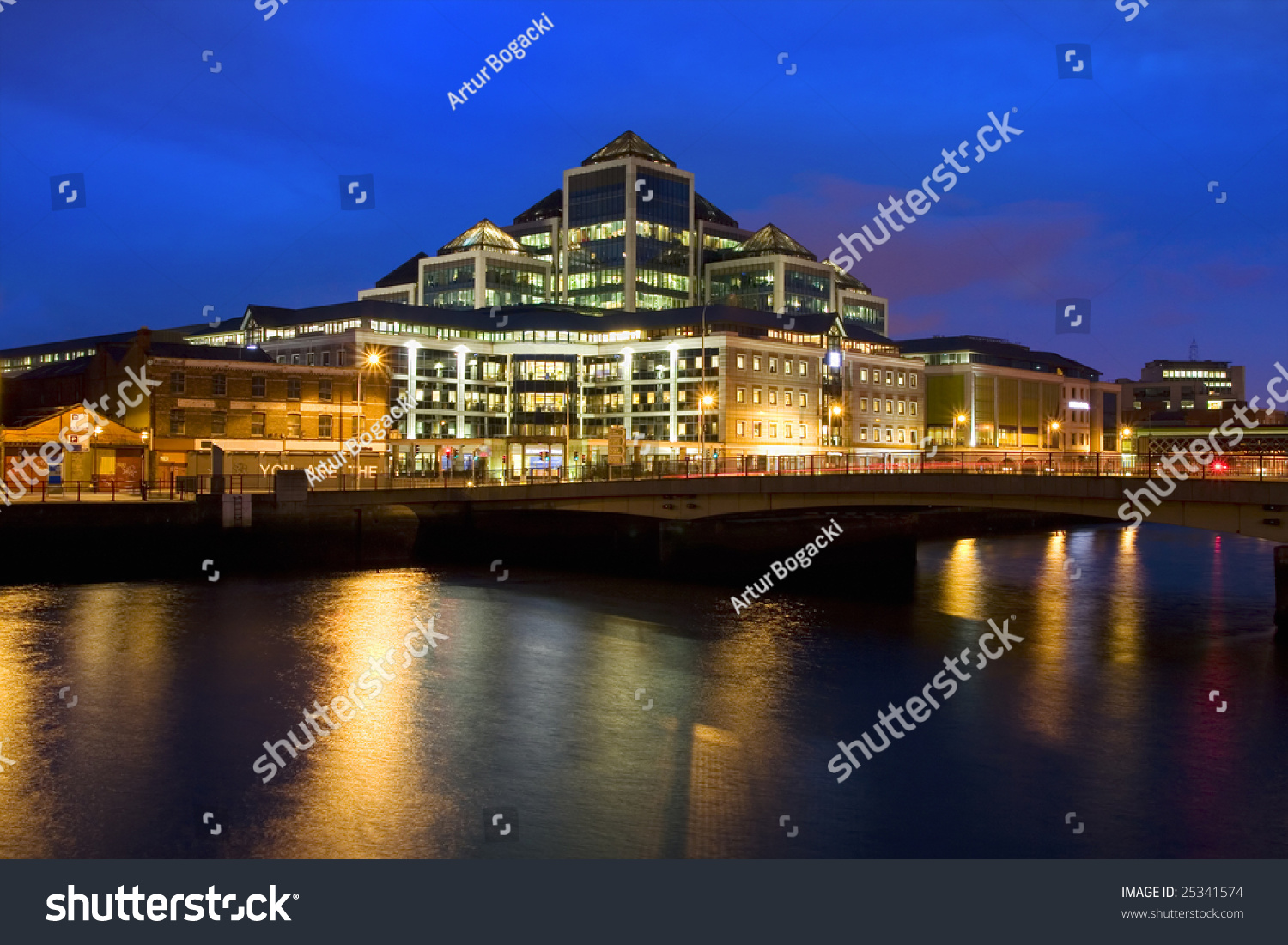 Modern Architecture Dublin contemporary architecture modern office building night stock photo