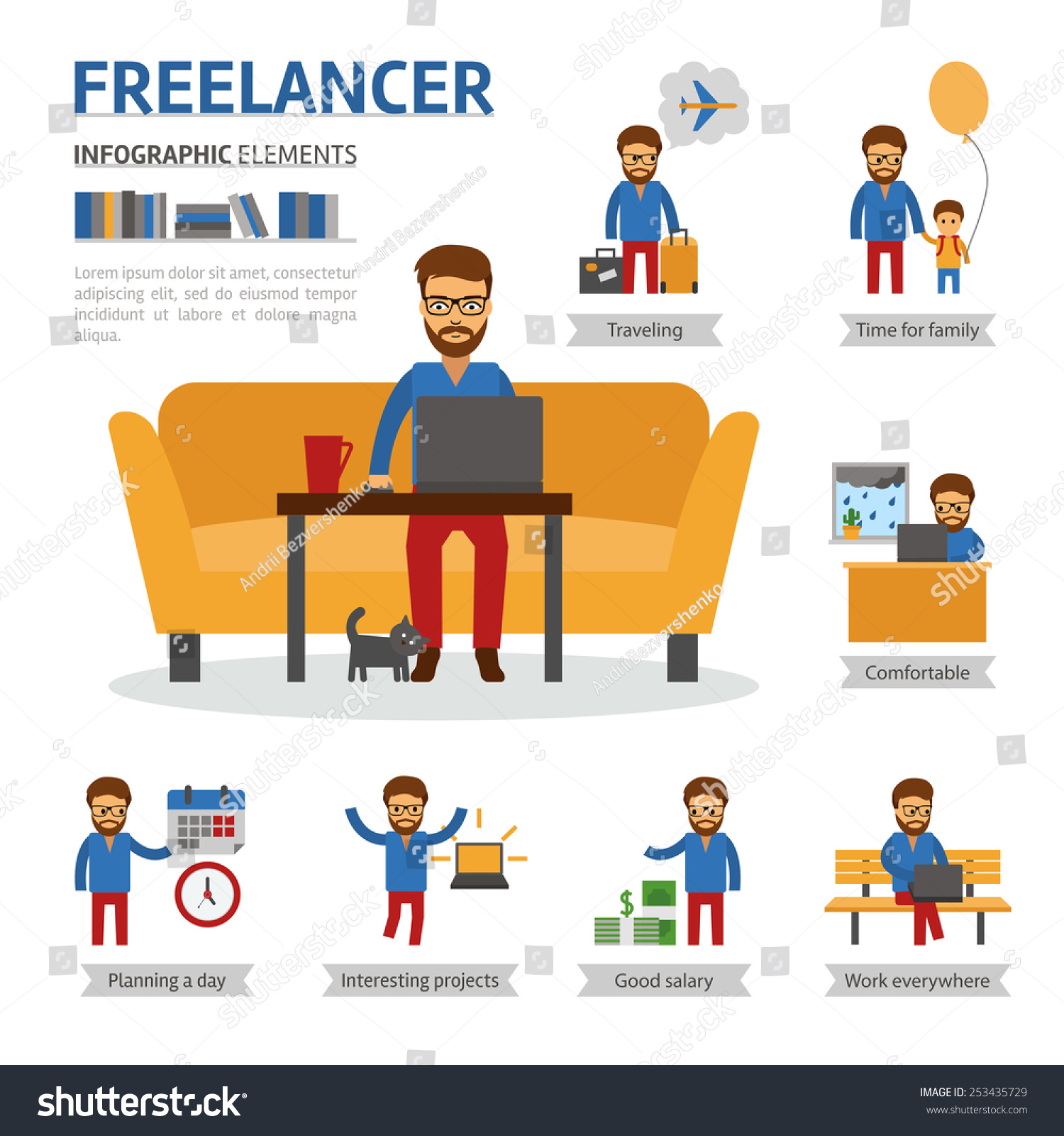 Freelancer infographic elements man works home stock - Online design jobs work from home ...