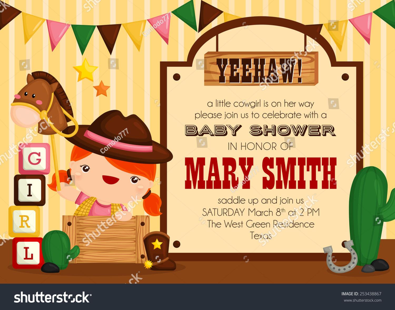 Cowgirl Baby Shower Invitation Stock Vector 253438867 - Shutterstock