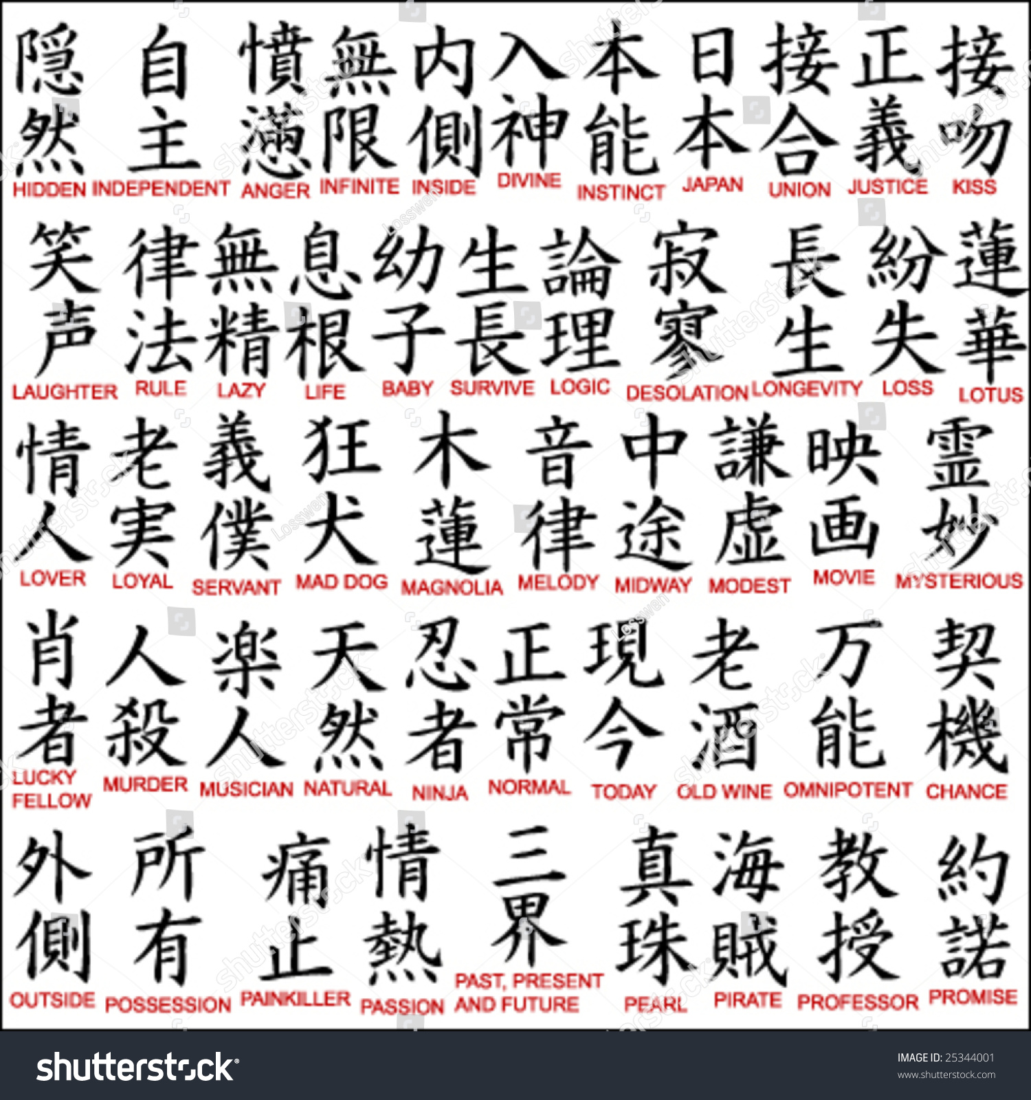 Japanese Kanji Chinese Symbols 8 Stock Vector 2018 25344001