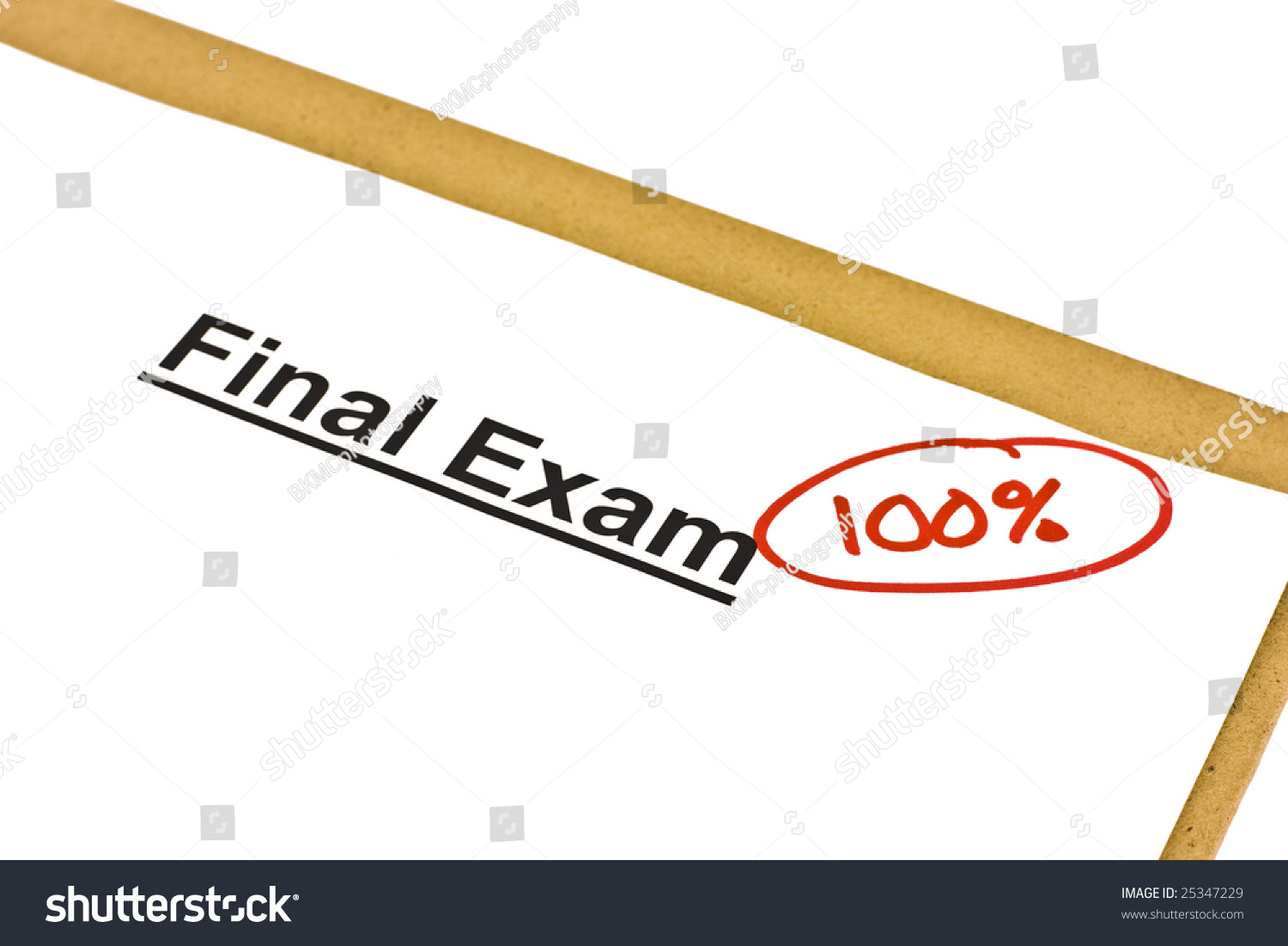 Final Exam Marked With 100  Isolated On White  Stock Photo