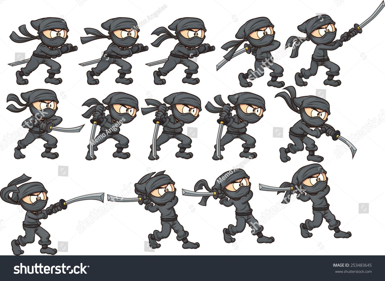 Animation Ninja Attacking Sword Vector Clip Stock Vector